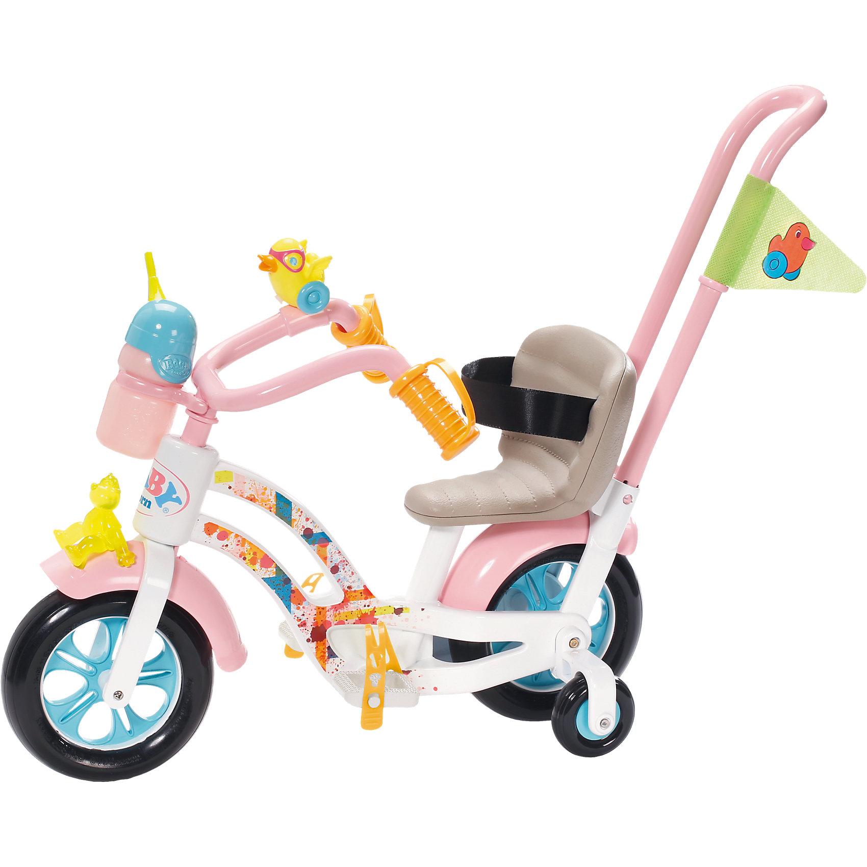Велосипед, BABY bornБренды кукол<br>Велосипед, BABY born<br><br>Характеристики:<br><br>• В набор входит: велосипед, съёмная ручка, бутылочка, клаксон<br>• Состав: пластик, металл<br>• Размер упаковки: 40,5 * 20,5 * 35,6 см.<br>• Тип батареек: 3 x AAA / LR0.3 1.5V (мизинчиковые)<br>• Наличие батареек: входят в комплект<br>• Вес: 1200 г.<br>• Для детей в возрасте: от 3 лет<br>• Страна производитель: Китай <br><br>С новым велосипедом ребёнок сможет продолжать свои игры, делая их ещё веселее. Игрушечный велосипед выглядит как настоящий, кукла застёгивается на ремень-липучку в удобном кресле и её легко сажать на велосипед. Благодаря двум основным колёсам и трём дополнительным велосипед отлично держит равновесие. Стильный дизайн прекрасно подойдёт любимой кукле. <br><br>Велосипед оснащён звуковыми и световыми эффектами, а также держателем для бутылочки куклы, бутылочка входит в комплект. Задняя ручка-спинка снимается, что позволяет катать куклу за ручку или позволять кукле кататься самой. Это фирменный велосипед для кукол, он подойдёт к любой кукле бренда BABY born (Бейби Бон).<br><br>Велосипед, BABY born можно купить в нашем интернет-магазине.<br><br>Ширина мм: 410<br>Глубина мм: 350<br>Высота мм: 210<br>Вес г: 1113<br>Возраст от месяцев: 36<br>Возраст до месяцев: 60<br>Пол: Женский<br>Возраст: Детский<br>SKU: 5031513