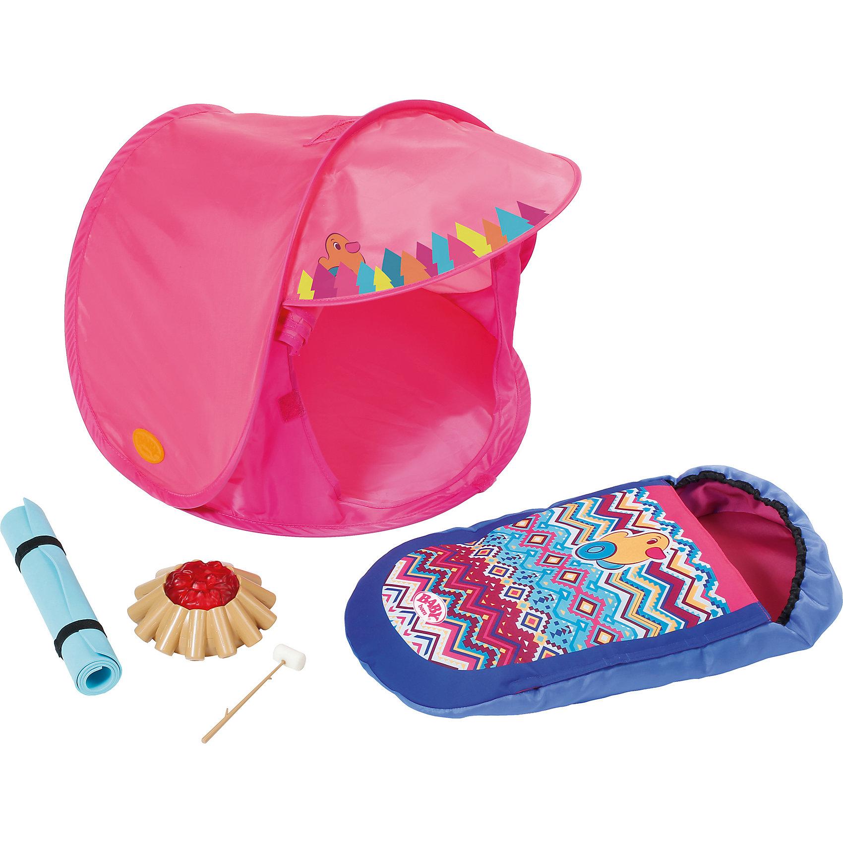 Набор для похода, BABY bornКукольная одежда и аксессуары<br>Набор для похода, BABY born <br><br>Характеристики:<br><br>• В набор входит: спальный мешок, мини-палатка, коврик, костёр, веточка с зефиром<br>• Состав: текстиль, пластик<br>• Размер упаковки: 38 * 8 * 38 см.<br>• Для детей в возрасте: от 3 лет<br>• Страна производитель: Китай<br><br>С новым набором для похода ребёнок сможет продолжать свои игры, делая их ещё веселее. Спальный мешок и коврик-пенка выглядят совсем как настоящие, маленькая одноместная палатка отлично дополняет комплект и позволит сделать игру в поход по-настоящему полной. <br><br>Благодаря игрушечному пластиковому костру со встроенным светом и небольшой веточке с зефиром любимая кукла сможет готовить походную еду и наслаждаться отдыхом на природе. Это фирменный комплект для кукол, поэтому она подойдёт к любой кукле бренда BABY born (Бейби Бон).<br> <br>Набор для похода, BABY born можно купить в нашем интернет-магазине.<br><br>Ширина мм: 388<br>Глубина мм: 360<br>Высота мм: 86<br>Вес г: 755<br>Возраст от месяцев: 36<br>Возраст до месяцев: 60<br>Пол: Женский<br>Возраст: Детский<br>SKU: 5031514