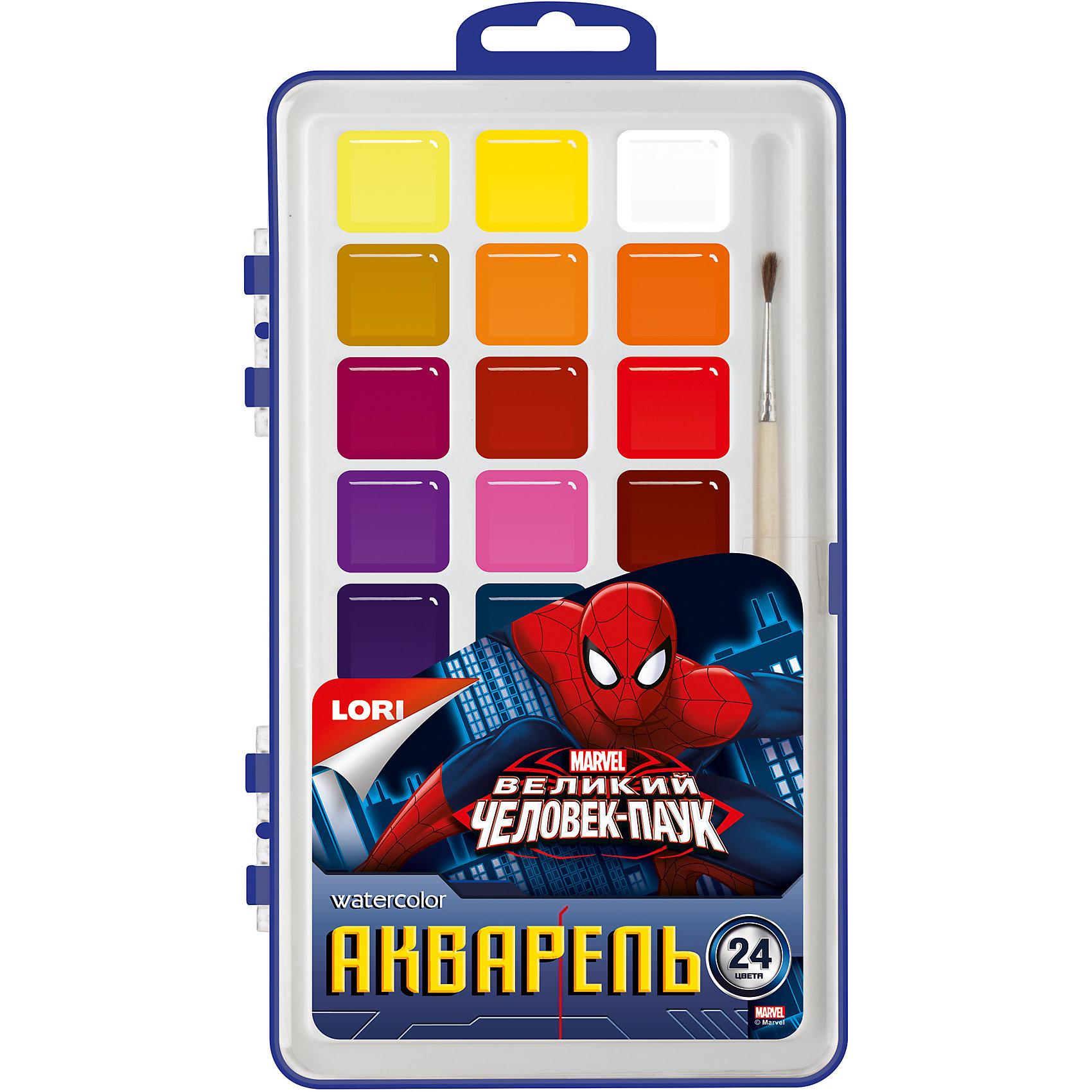 Акварель Marvel Человек-паук 24 цветов, в пластикеакварельная краска, 24 цвета<br><br>Ширина мм: 18<br>Глубина мм: 122<br>Высота мм: 205<br>Вес г: 990<br>Возраст от месяцев: 36<br>Возраст до месяцев: 84<br>Пол: Унисекс<br>Возраст: Детский<br>SKU: 5032211