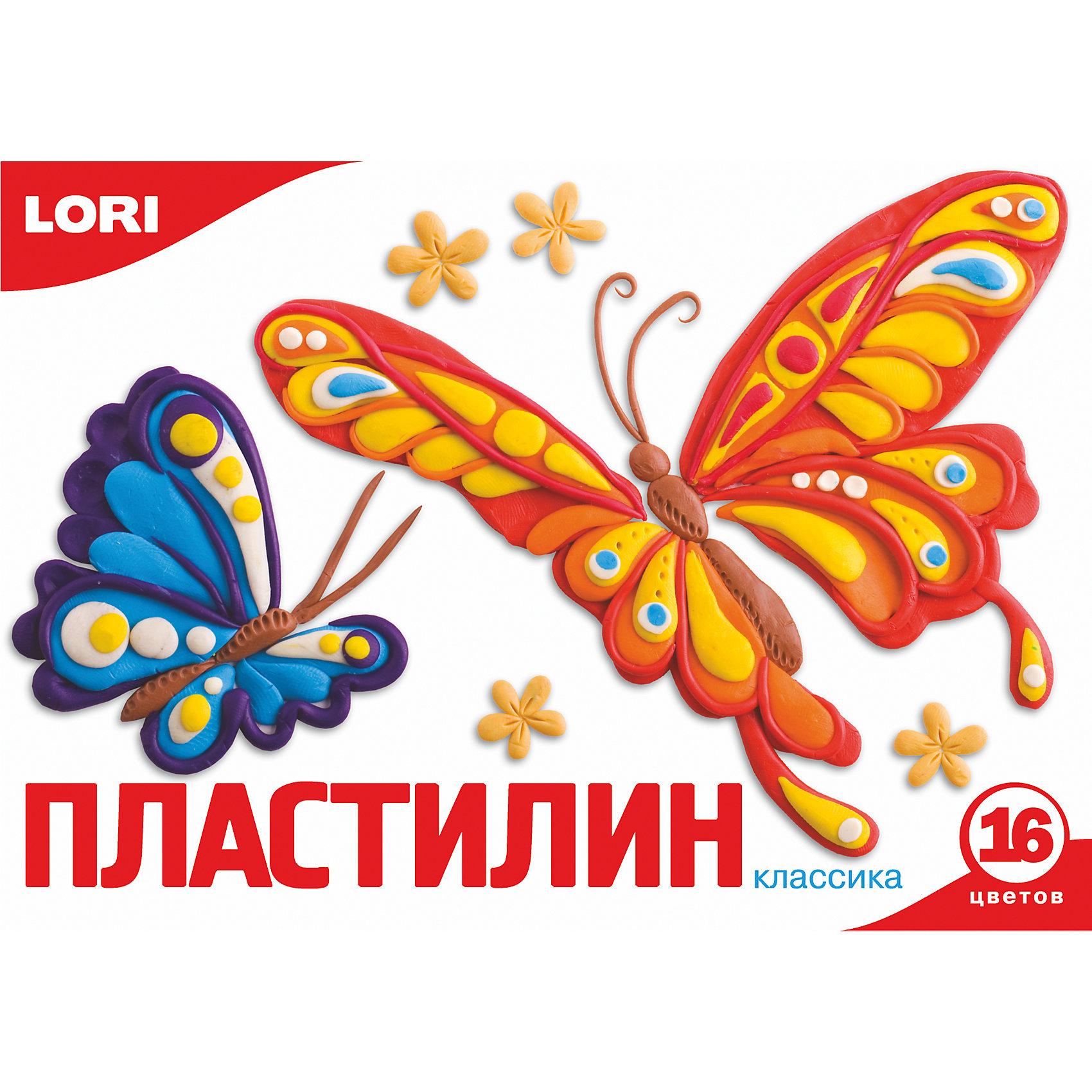 LORI Пластилин «Классика» 16 цветов, 20 г lori пластилин тачки 16 цветов