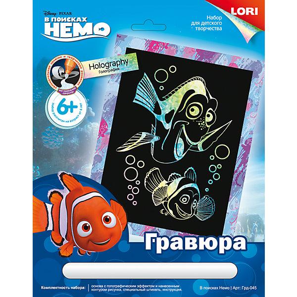 Гравюра Disney большая с эффектом голографик «В поисках Немо»Гравюры для детей<br>Гравюра Disney большая с эффектом голографик «В поисках Немо» (Finding Nemo).<br><br>Характеристика:<br><br>• Материал: картон, металл.   <br>• Размер: 19х24 см. <br>• Комплектация: основа с контуром рисунка, штихель, инструкция.<br>• Голографический эффект. <br>• Развивает моторику рук, внимание, усидчивость и воображение. <br><br>Предложите ребенку самому сделать гравюру с изображением любимых персонажей мультфильма «В поисках Немо». Такое занятие не только развлечет детей, но и поможет развить моторику рук, внимание, усидчивость и воображение. <br><br>Гравюру, Disney, большую с эффектом голографик «В поисках Немо» (Finding Nemo) можно купить в нашем интернет-магазине.<br><br>Ширина мм: 275<br>Глубина мм: 215<br>Высота мм: 50<br>Вес г: 405<br>Возраст от месяцев: 72<br>Возраст до месяцев: 120<br>Пол: Унисекс<br>Возраст: Детский<br>SKU: 5032218