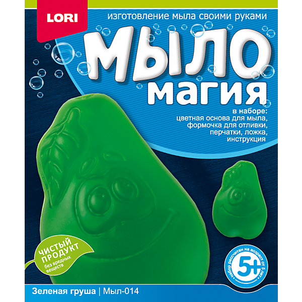 МылоМагия Зеленая грушаНаборы для создания мыла<br>Основа для мыла емкость для растапливания, форма для заливки мыльного раствора, пищевой краситель, пипетка, перчатки, ложка инструкция<br>Ширина мм: 40; Глубина мм: 135; Высота мм: 113; Вес г: 72; Возраст от месяцев: 60; Возраст до месяцев: 84; Пол: Унисекс; Возраст: Детский; SKU: 5032298;