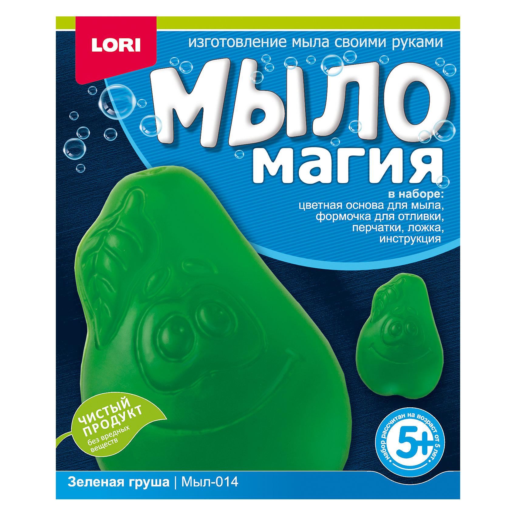 МылоМагия Зеленая грушаСоздание мыла<br>Основа для мыла емкость для растапливания, форма для заливки мыльного раствора, пищевой краситель, пипетка, перчатки, ложка инструкция<br><br>Ширина мм: 40<br>Глубина мм: 135<br>Высота мм: 113<br>Вес г: 350<br>Возраст от месяцев: 60<br>Возраст до месяцев: 84<br>Пол: Унисекс<br>Возраст: Детский<br>SKU: 5032298