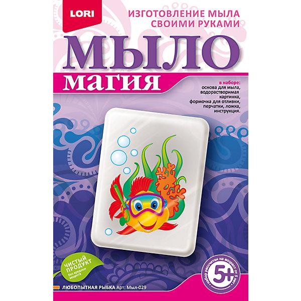 МылоМагия Любопытная рыбкаНаборы для создания мыла<br>Основа для мыла емкость для растапливания, форма для заливки мыльного раствора, водорастворимая бумага, пищевой краситель, пипетка, перчатки, ложка инструкция<br><br>Ширина мм: 40<br>Глубина мм: 135<br>Высота мм: 208<br>Вес г: 650<br>Возраст от месяцев: 60<br>Возраст до месяцев: 84<br>Пол: Унисекс<br>Возраст: Детский<br>SKU: 5032307
