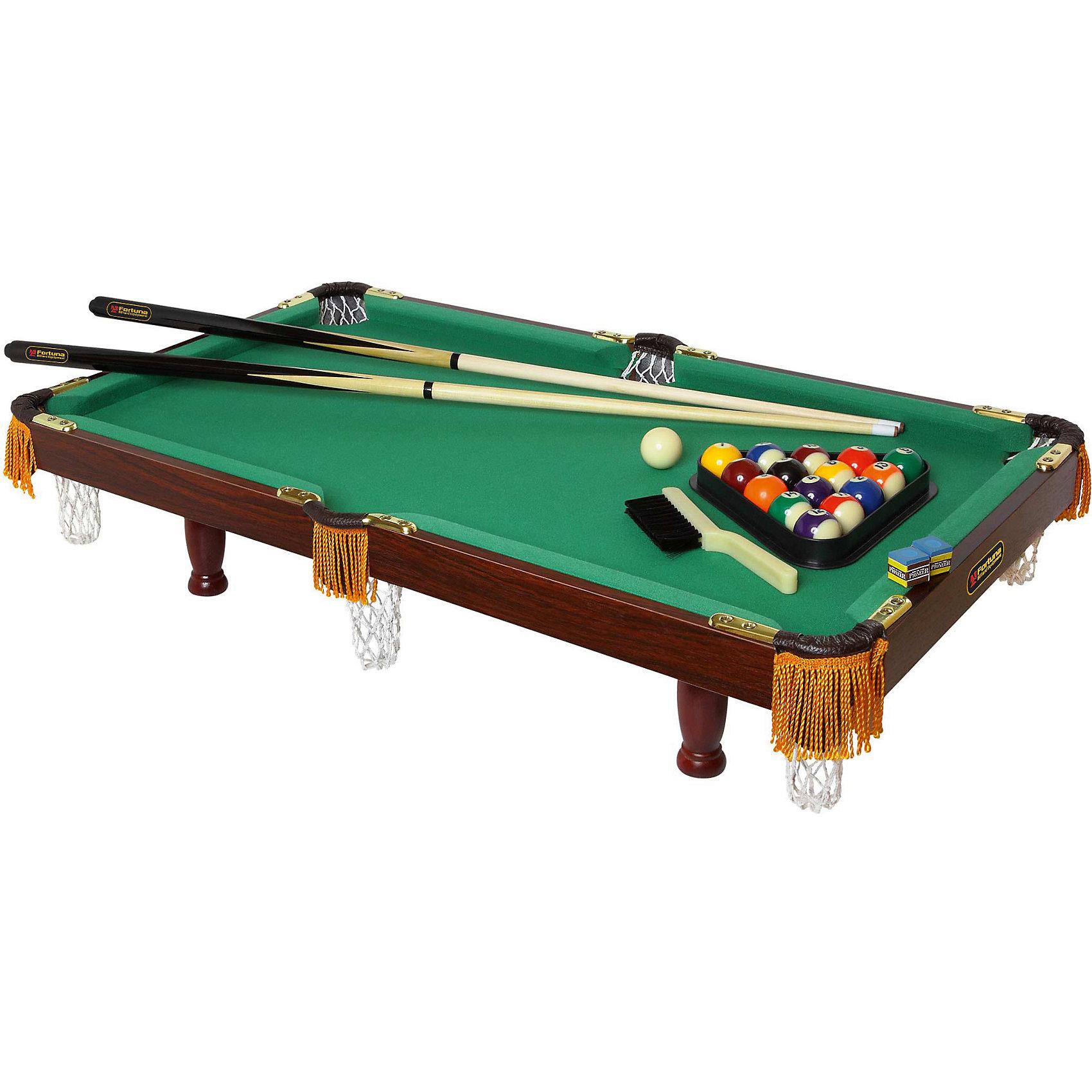 Бильярдный стол Пул, с комплектом аксессуаров, FortunaБильярдный стол Fortuna Пул 6 футов 9 в 1.<br><br>Характеристики настольной игры Фортуна:<br><br>• размер бильярдного стола в собранном виде: 182х84х79 см;<br>• вес бильярдного стола: 46,6 кг<br>• регулируется по высоте;<br>• материал корпуса: МДВ/ПВХ;<br>• толщина плиты: 12 мм;<br>• диаметр шаров: 51 мм;<br>• длина киев: 122 см;<br>• размер упаковки: 191х89,5х16,5 см;<br>• вес упаковки: 54;<br>• упаковка: картонные коробки, полиэтилен, пенопласт.<br><br>Бильярдный стол Fortuna Billiard Equipment 9 в 1 – это полноценный игровой центр для детей и взрослых. <br><br>Набор предлагает 9 игр: американский пул, шашки, шахматы, нарды, настольный теннис (пинг-понг), кегли, шаффлборд, игральные карты и домино.<br><br>Бильярдный стол Пул, с комплектом аксессуаров, Fortuna можно купить в нашем интернет-магазине.<br><br>Ширина мм: 970<br>Глубина мм: 100<br>Высота мм: 560<br>Вес г: 9000<br>Возраст от месяцев: 36<br>Возраст до месяцев: 2147483647<br>Пол: Унисекс<br>Возраст: Детский<br>SKU: 5032447