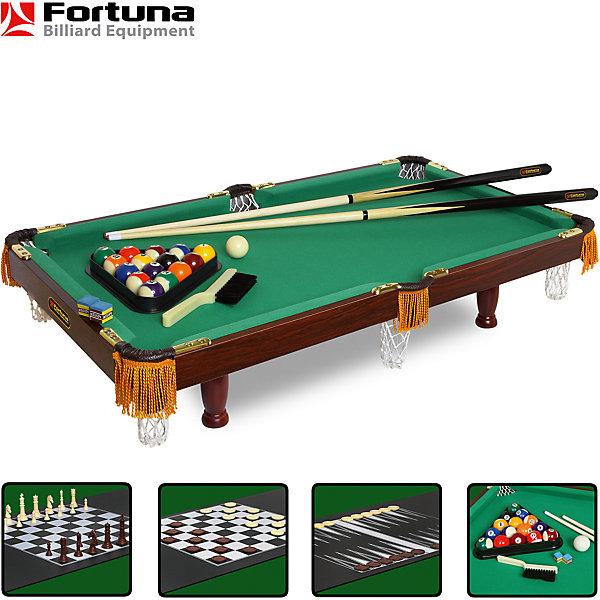 Бильярдный стол Fortuna Пул 3 фута, 4 в 1  с комплектом аксессуаров, FortunaИдеи подарков<br>Бильярдный стол Fortuna Пул 3 фута 4 в 1.<br><br>Характеристики настольной игры Фортуна:<br><br>• размер бильярдного стола в собранном виде: 92х50х20 см;<br>• размер игрового поля: 3 фута;<br>• вес бильярдного стола: 10 кг<br>• не регулируется по высоте;<br>• материал корпуса: МДВ/ПВХ;<br>• толщина плиты: 12 мм;<br>• диаметр шаров: 38 мм;<br>• длина киев: 92 см;<br>• размер упаковки: 100х56,6х11 см;<br>• вес упаковки: 12,8 кг;<br>• упаковка: картонные коробки, полиэтилен, пенопласт.<br><br>Бильярдный стол Fortuna Billiard Equipment 4 в 1 – это полноценный игровой центр для детей и взрослых. <br><br>Набор предлагает 4 игры: американский бильярд, шашки, шахматы и нарды.<br><br>Бильярдный стол Пул, 4 в 1 с комплектом аксессуаров, Fortuna можно купить в нашем интернет-магазине.<br>Ширина мм: 1000; Глубина мм: 110; Высота мм: 570; Вес г: 12700; Возраст от месяцев: 36; Возраст до месяцев: 2147483647; Пол: Унисекс; Возраст: Детский; SKU: 5032449;
