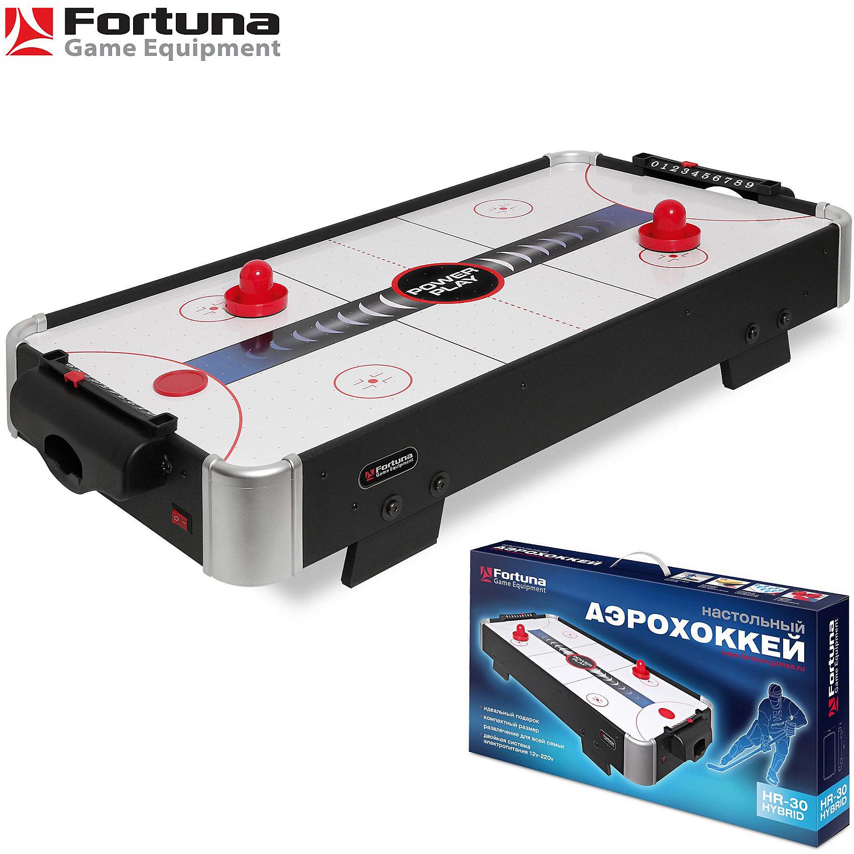 Настольный аэрохоккей HR-30 Power Play Hybrid, 86х43х15 см, FortunaНастольные игры<br>Настольный аэрохоккей HR-30 Power Play Hybrid<br><br>Характеристики игрового набора Fortuna Game Equipment:<br><br>• габариты стола в собранном виде: 86х43х15 см;<br>• вес стола: 5,72 кг;<br>• размер игрового поля: 84х41 см;<br>• имеется компрессор;<br>• не регулируется по высоте, не имеет электронного счетчика очков;<br>• материал корпуса, покрытие: МДФ, ПВХ;<br>• питание: система Hybrid: 220В / 12В (8 батареек 1,5В типа АА);<br>• размер упаковки: 93х49х15 см;<br>• вес упаковки: 8,850 кг;<br>• упаковка: мастер-коробка, коммерческая коробка, МДФ, пенопласт, полиэтилен.<br><br>Настольный аэрохоккей принесет удовольствие не только детям, но и их родителям. Качественные материалы, стильный дизайн и яркое оформление, простота сборки, возможность использования в домашних условиях.<br><br>Комплектация игрового набора «Аэрохоккей»:<br><br>• 2 биты, диаметр 6,5 см;<br>• 2 шайбы, диаметр 5 см;<br>• 1 адаптер.<br><br>Настольный аэрохоккей HR-30 Power Play Hybrid, 86х43х15 см, Fortuna можно купить в нашем интернет-магазине.<br><br>Ширина мм: 930<br>Глубина мм: 150<br>Высота мм: 490<br>Вес г: 8850<br>Возраст от месяцев: 36<br>Возраст до месяцев: 2147483647<br>Пол: Унисекс<br>Возраст: Детский<br>SKU: 5032451