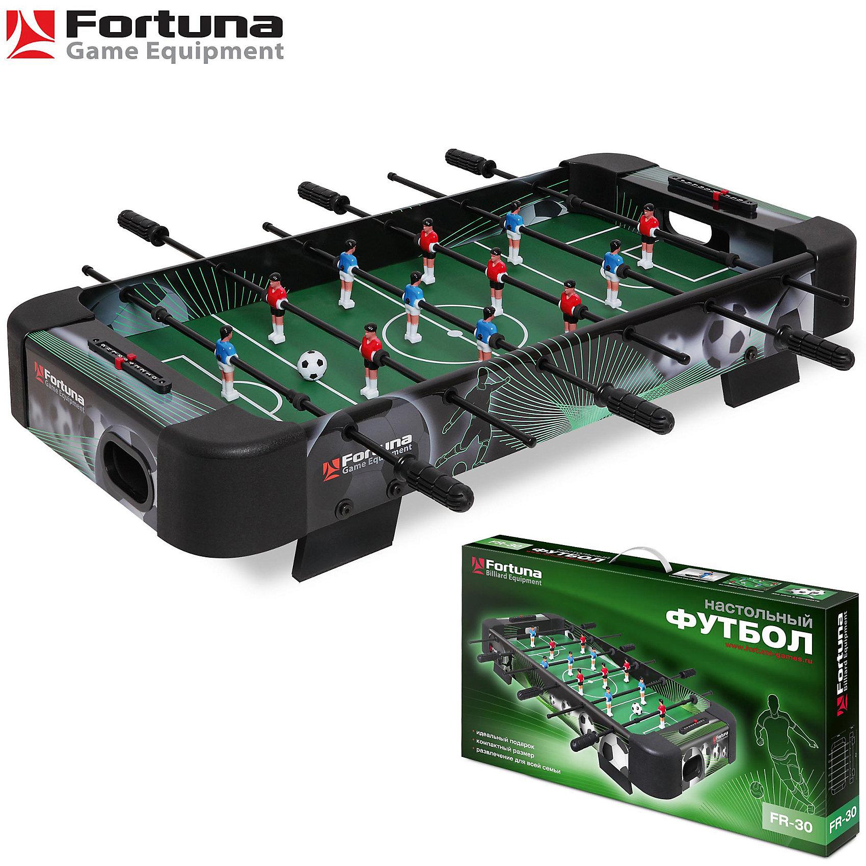 Настольный футбол-кикер, FR-30, 83,5x40x15 см, FortunaНастольные игры<br>Настольный футбол-кикер, FR-30<br><br>Характеристики игрового набора Fortuna Game Equipment:<br><br>• размер стола в собранном виде: 83х40х15 см;<br>• вес: 4,75 кг<br>• размер игрового поля: 69х37 см;<br>• не регулируется по высоте;<br>• мячи: 4 шт, диаметр 29 мм;<br>• материла корпуса + покрытие: МДФ/ПВХ;<br>• материал рукояток: резина;<br>• материал штанг: металл, количество штанг: 6 шт.;<br>• размер упаковки: 82х45х14 см;<br>• вес упаковки: 7,3 кг;<br>• упаковка: мастер-коробка, коммерческая коробка, МДФ, пенопласт, полиэтилен.<br><br>Настольный футбол-кикер, FR-30, 83,5x40x15 см, Fortuna можно купить в нашем интернет-магазине.<br><br>Ширина мм: 820<br>Глубина мм: 140<br>Высота мм: 450<br>Вес г: 7300<br>Возраст от месяцев: 36<br>Возраст до месяцев: 2147483647<br>Пол: Унисекс<br>Возраст: Детский<br>SKU: 5032453