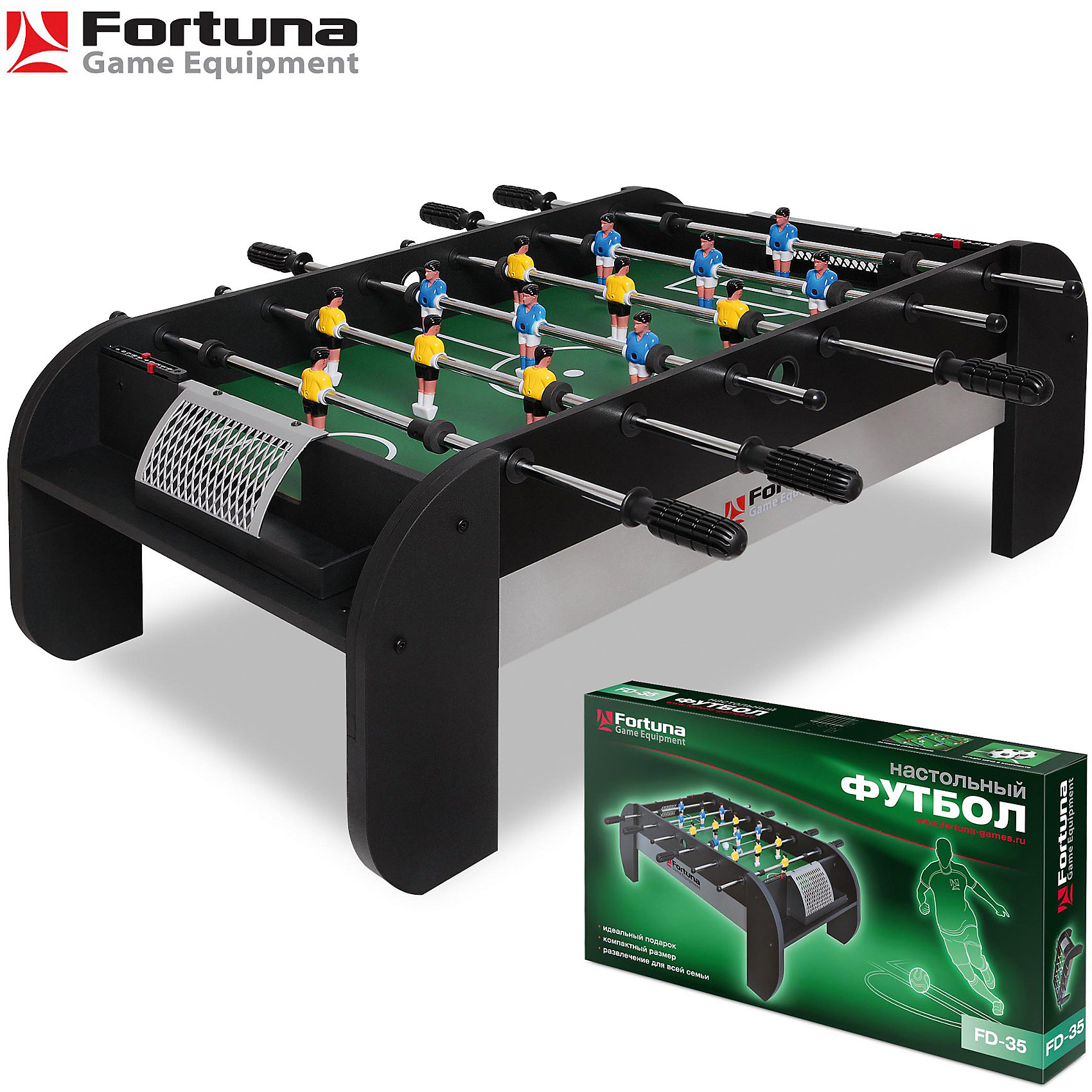 Настольный футбол-кикер, FD-35, 97х54х35 см, FortunaСпортивные настольные игры<br>Настольный футбол-кикер, FD-35<br><br>Характеристики игрового набора Fortuna Game Equipment:<br><br>• размер стола в собранном виде: 97х54х35 см;<br>• вес: 10,14 кг<br>• размер игрового поля: 77х49 см;<br>• не регулируется по высоте;<br>• мячи: 4 шт, диаметр 31 мм;<br>• материла корпуса + покрытие: МДФ/ПВХ;<br>• материал рукояток: резина;<br>• материал штанг: металл, количество штанг: 6 шт.;<br>• размер упаковки: 106х55х14 см;<br>• вес упаковки: 13,19 кг;<br>• упаковка: мастер-коробка, коммерческая коробка, МДФ, пенопласт, полиэтилен.<br><br>Настольный футбол-кикер, FD-35, 97х54х35 см, Fortuna можно купить в нашем интернет-магазине.<br><br>Ширина мм: 1006<br>Глубина мм: 140<br>Высота мм: 550<br>Вес г: 13190<br>Возраст от месяцев: 36<br>Возраст до месяцев: 2147483647<br>Пол: Унисекс<br>Возраст: Детский<br>SKU: 5032454