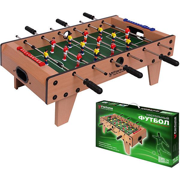 Настольный футбол-кикер, Junior FD-31, 69х36,5х24 см, FortunaСпортивные настольные игры<br>Настольный футбол-кикер, Junior FD-31<br><br>Характеристики игрового набора Fortuna Game Equipment:<br><br>• размер стола в собранном виде: 69х36,5х24 см;<br>• вес: 4 кг<br>• размер игрового поля: 48х35 см;<br>• не регулируется по высоте;<br>• мячи: 4 шт, диаметр 31 мм;<br>• материла корпуса + покрытие: МДФ/ПВХ;<br>• материал рукояток: резина;<br>• материал штанг: металл, количество штанг: 6 шт., диаметр штанги 8 мм;<br>• размер упаковки: 74х39х11 см;<br>• вес упаковки: 5,5 кг;<br>• упаковка: мастер-коробка, коммерческая коробка, МДФ, пенопласт, полиэтилен.<br><br>Настольный футбол-кикер, Junior FD-31, 69х36,5х24 см, Fortuna можно купить в нашем интернет-магазине.<br><br>Ширина мм: 740<br>Глубина мм: 110<br>Высота мм: 400<br>Вес г: 5440<br>Возраст от месяцев: 36<br>Возраст до месяцев: 2147483647<br>Пол: Унисекс<br>Возраст: Детский<br>SKU: 5032455