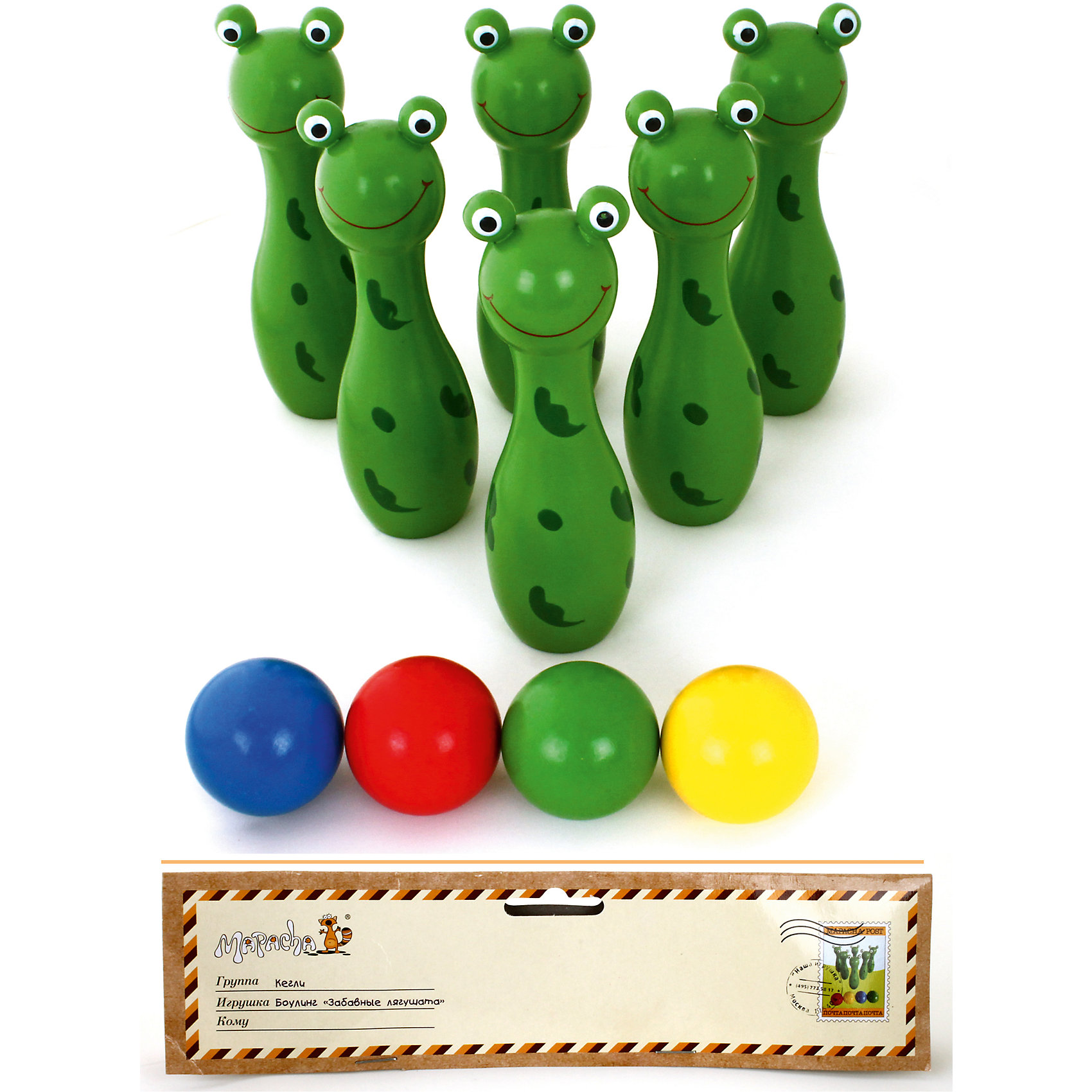 Боулинг Забавные лягушата, MapachaИгровые наборы<br>Боулинг – всеми любимая игра. Семейные походы в боулинг – отличный вариант для развлечений выходного дня. С новой игрушкой от компании Mapacha в боулинг можно играть прямо у себя дома! Кегли – милые зеленые лягушата. Команду кеглей - лягушат, выстроенную в определенном порядке нужно разбить разноцветными мячами, входящими в комплект. Материалы, использованные при изготовлении товара, абсолютно безопасны и отвечают всем международным требованиям по качеству.<br><br>Дополнительные характеристики:<br><br>материал: натуральное дерево;<br>цвет: разноцветный;<br>габариты: 24 X 9 X 34 см;<br>высота: 15,5 см;<br>количество: кегли – 6 штук, мяч – 4 штуки.<br><br>Боулинг Забавные лягушата от компании Mapacha можно приобрести в нашем магазине.<br><br>Ширина мм: 490<br>Глубина мм: 330<br>Высота мм: 330<br>Вес г: 750<br>Возраст от месяцев: 36<br>Возраст до месяцев: 96<br>Пол: Унисекс<br>Возраст: Детский<br>SKU: 5032491