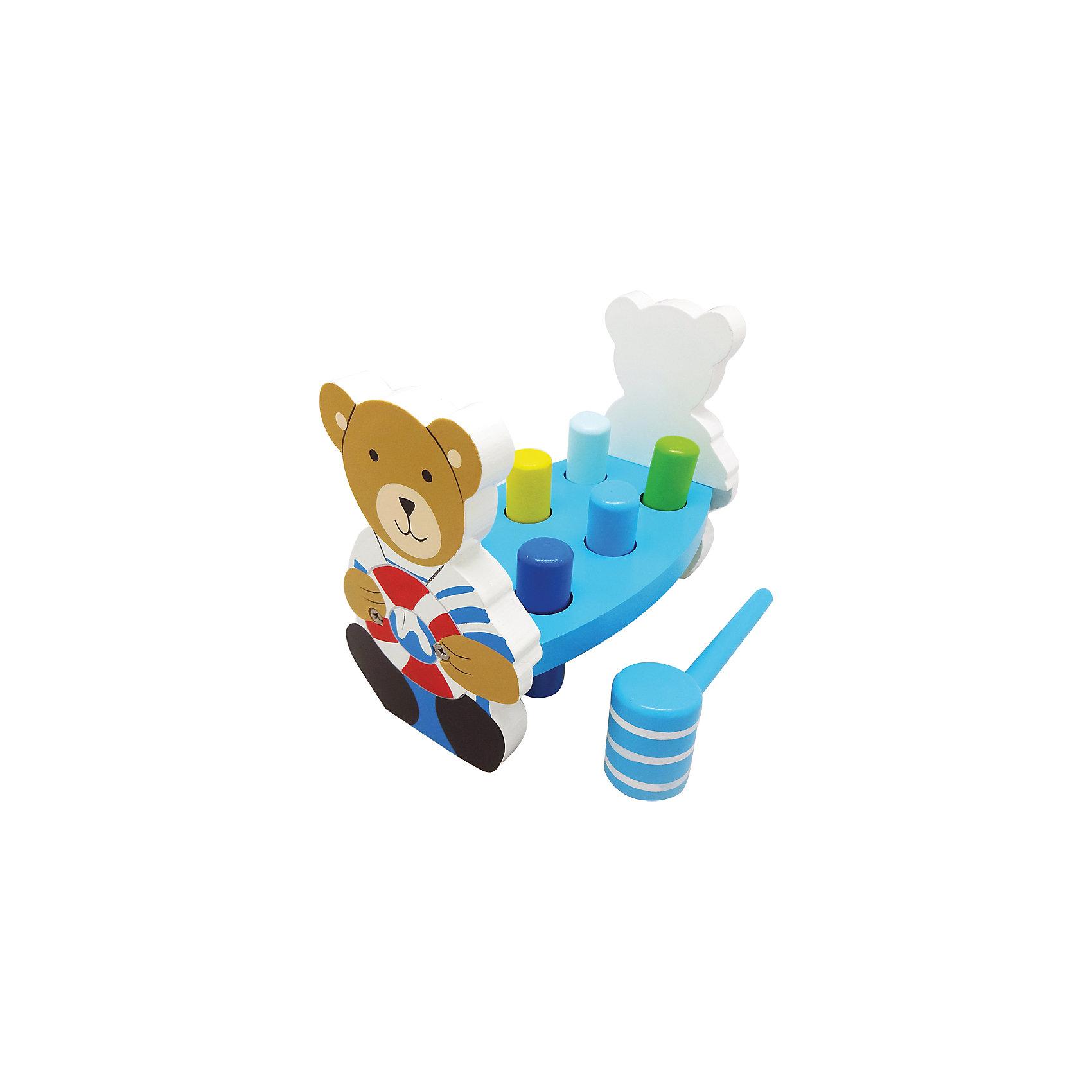 Игра с молоточком Капитан, MapachaРазвивающие игры<br>Игра «Капитан» - развивающая игрушка, направленная на улучшение координации и внимания маленького ребенка. Основа игрушки – платформа с цилиндрами, которые необходимо забить молоточком в отверстия, в которые они установлены. По бокам на малыша смотрит веселый капитан – медвежонок. Компания Mapacha – абсолютный лидер по производству экологически чистых игрушек для детей ясельного возраста. Материалы, использованные при изготовлении товара, абсолютно безопасны и отвечают всем международным требованиям по качеству.<br><br>Дополнительные характеристики:<br><br>материал: натуральное дерево;<br>цвет: разноцветный;<br>габариты: 20 X 12 X 16 см.<br><br>Игру с молоточком Капитан от компании Mapacha можно приобрести в нашем магазине.<br><br>Ширина мм: 420<br>Глубина мм: 345<br>Высота мм: 355<br>Вес г: 750<br>Возраст от месяцев: 12<br>Возраст до месяцев: 36<br>Пол: Унисекс<br>Возраст: Детский<br>SKU: 5032492