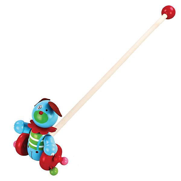 Каталка Веселый щенок, MapachaДеревянные игрушки<br>Каталки – интересные игрушки, которые любят все малыши. Данная модель выполнена из пластика, представлена в виде щенка. Внизу у игрушки есть колесики, которые легко передвигаются по любым поверхностям. Каталка – игрушка на длинной ручке. Малыш держит игрушку за ручку и катит впереди или позади себя. Благодаря колесикам ребенок не устает носить с собой каталку. Яркие цвета, стильный дизайн – достоинства новой модели. Материалы, использованные при изготовлении товара, абсолютно безопасны и отвечают всем международным требованиям по качеству.<br><br>Дополнительные характеристики:<br><br>материал: пластик, ПВХ;<br>цвет: разноцветный;<br>габариты: 36 X 18 X 23 см.<br><br>Каталку Веселый щенок от компании Mapacha можно приобрести в нашем магазине.<br><br>Ширина мм: 515<br>Глубина мм: 350<br>Высота мм: 260<br>Вес г: 271<br>Возраст от месяцев: 12<br>Возраст до месяцев: 36<br>Пол: Унисекс<br>Возраст: Детский<br>SKU: 5032494