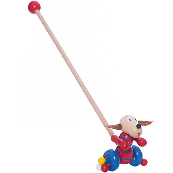 Каталка Собачка, MapachaДеревянные игрушки<br>Каталки – интересные игрушки, которые любят все малыши. Данная модель выполнена из пластика, представлена в виде собачки. Внизу у игрушки есть колесики, которые легко передвигаются по любым поверхностям. Каталка – игрушка на длинной ручке. Малыш держит игрушку за ручку и катит впереди или позади себя. Благодаря колесикам ребенок не устает носить с собой каталку. Яркие цвета, стильный дизайн – достоинства новой модели. Материалы, использованные при изготовлении товара, абсолютно безопасны и отвечают всем международным требованиям по качеству.<br><br>Дополнительные характеристики:<br><br>материал: пластик, ПВХ;<br>цвет: разноцветный;<br>габариты: 36 X 18 X 23 см.<br><br>Каталку Собачка от компании Mapacha можно приобрести в нашем магазине.<br><br>Ширина мм: 510<br>Глубина мм: 450<br>Высота мм: 320<br>Вес г: 125<br>Возраст от месяцев: 12<br>Возраст до месяцев: 36<br>Пол: Унисекс<br>Возраст: Детский<br>SKU: 5032496