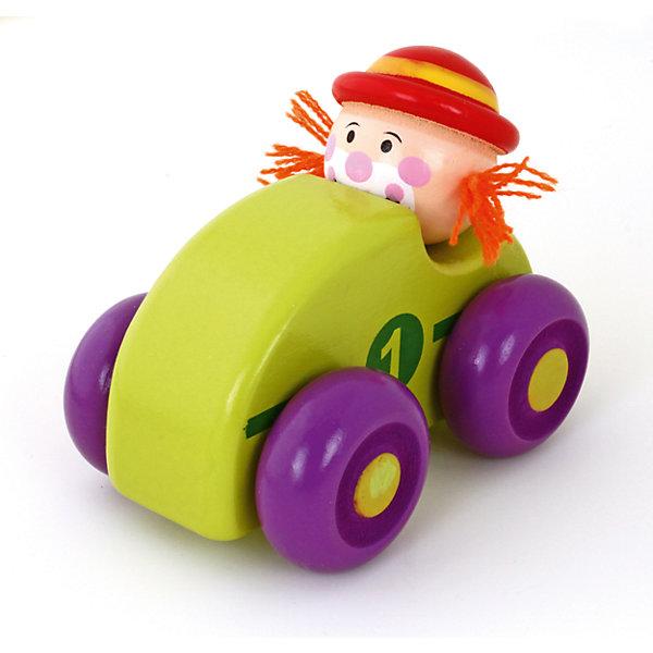 Машинка Клоун, зеленая, MapachaДеревянные игрушки<br>Компания Mapacha – абсолютный лидер по производству экологически чистых игрушек для детей ясельного возраста. Машинки – любимые игрушки всех маленьких мальчиков. Новая модель – яркая деревянная машинка с необычным водителем – веселым рыжим клоуном! Основной цвет игрушки – зеленый, колеса – сочного фиолетового цвета. Данная модель прослужит не один год и не потеряет своего первоначального вида. Материалы, использованные при изготовлении товара, абсолютно безопасны и отвечают всем международным требованиям по качеству.<br><br>Дополнительные характеристики:<br><br>материал: натуральное дерево, текстиль;<br>цвет: зеленый;<br>габариты: 16 X 6 X 15 см.<br><br>Машинку Клоун от компании Mapacha можно приобрести в нашем магазине.<br><br>Ширина мм: 430<br>Глубина мм: 325<br>Высота мм: 410<br>Вес г: 125<br>Возраст от месяцев: 36<br>Возраст до месяцев: 72<br>Пол: Унисекс<br>Возраст: Детский<br>SKU: 5032498