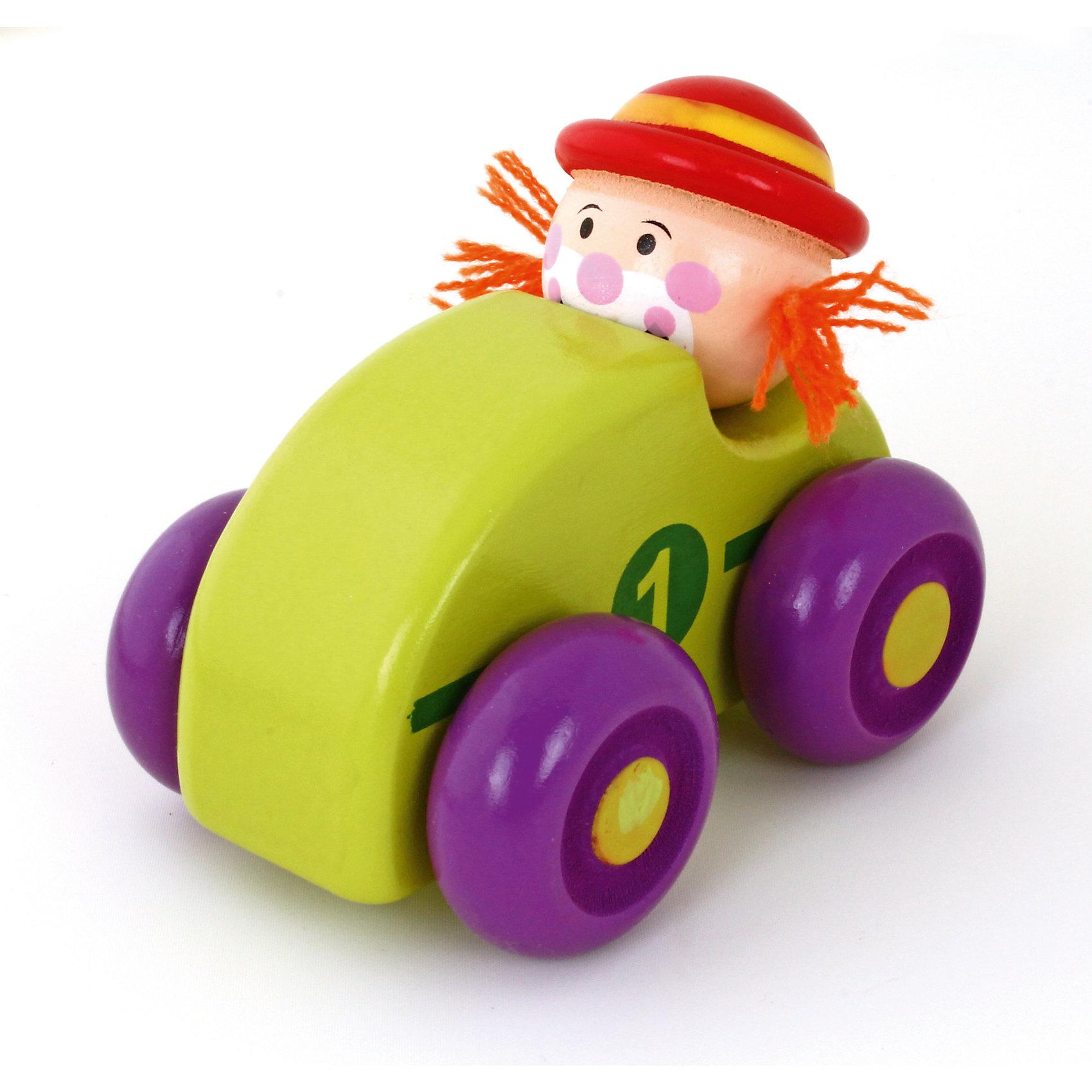 Машинка Клоун, зеленая, MapachaМашинки и транспорт для малышей<br>Компания Mapacha – абсолютный лидер по производству экологически чистых игрушек для детей ясельного возраста. Машинки – любимые игрушки всех маленьких мальчиков. Новая модель – яркая деревянная машинка с необычным водителем – веселым рыжим клоуном! Основной цвет игрушки – зеленый, колеса – сочного фиолетового цвета. Данная модель прослужит не один год и не потеряет своего первоначального вида. Материалы, использованные при изготовлении товара, абсолютно безопасны и отвечают всем международным требованиям по качеству.<br><br>Дополнительные характеристики:<br><br>материал: натуральное дерево, текстиль;<br>цвет: зеленый;<br>габариты: 16 X 6 X 15 см.<br><br>Машинку Клоун от компании Mapacha можно приобрести в нашем магазине.<br><br>Ширина мм: 430<br>Глубина мм: 325<br>Высота мм: 410<br>Вес г: 125<br>Возраст от месяцев: 36<br>Возраст до месяцев: 72<br>Пол: Унисекс<br>Возраст: Детский<br>SKU: 5032498