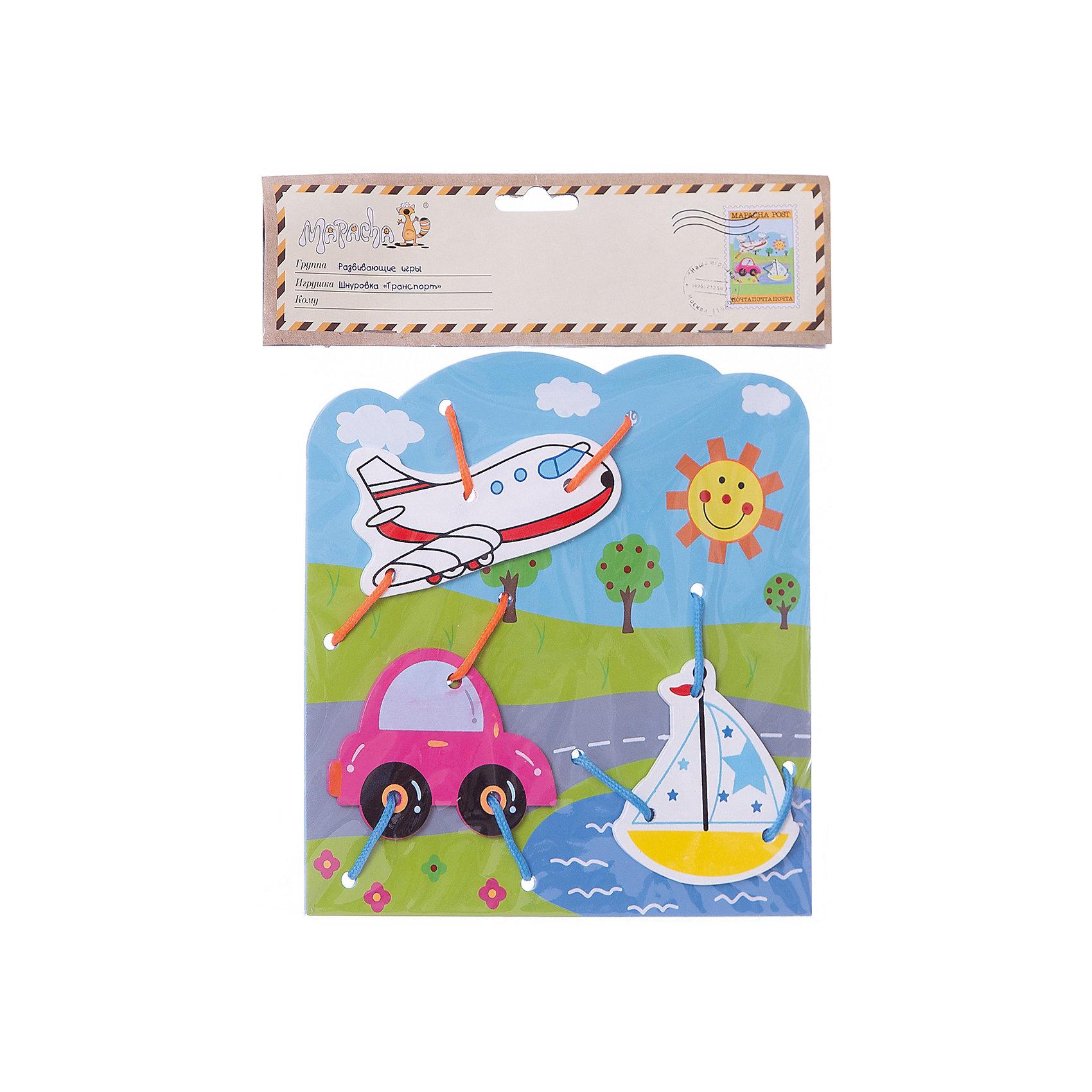 Шнуровка Транспорт, MapachaШнуровки – вид развивающих игрушек, которые обучают ребенка практическим навыкам. Шнуровка научит обращаться со шнурками, завязывать узелки и бантики. Красивый дизайн игрушки, интересный рисунок, экологический материал, яркие цвета и стильный дизайн сделают модель любимой вещицей у малыша. Игрушка тренирует мелкую моторику, аккуратность, а так же тренирует логику и воображение. Материалы, использованные при изготовлении товара, абсолютно безопасны и отвечают всем международным требованиям по качеству.<br><br>Дополнительные характеристики:<br><br>материал: натуральное дерево, текстиль;<br>цвет: разноцветный;<br>габариты: 21 X 1 X 28 см.<br><br>Шнуровку  Транспорт от компании Mapacha можно приобрести в нашем магазине.<br><br>Ширина мм: 420<br>Глубина мм: 590<br>Высота мм: 225<br>Вес г: 83<br>Возраст от месяцев: 36<br>Возраст до месяцев: 84<br>Пол: Унисекс<br>Возраст: Детский<br>SKU: 5032505