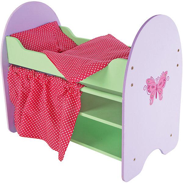 Кроватка Бабочка с полками, 51*30*45 см, Mary PoppinsМебель для кукол<br>Характеристики:<br><br>• возраст: от 3 лет;<br>• материал: текстиль, дерево;<br>• в комплекте: разобранная кроватка, 16 саморезов, подушка, одеяло, матрас, шторка;<br>• размер кроватки: 51х30х45 см;<br>• вес упаковки: 4,95 кг.;<br>• размер упаковки: 53х10х32 см;<br>• страна производитель: Россия.<br><br>Кроватка «Бабочка» Mary Poppins поможет девочке в организации сюжетно-ролевых игр с куклой. Игрушка прочная и экологичная, выполнена из дерева.<br><br>Подголовники имеют скругленную форму. Предусмотрены полочки для кукольных аксессуаров. В комплекте необходимое постельное белье. Все материалы безопасны для здоровья ребенка.<br><br>Кроватку «Бабочка» с полками, 51х30х45 см, Mary Poppins можно купить в нашем интернет-магазине.<br>Ширина мм: 530; Глубина мм: 320; Высота мм: 80; Вес г: 600; Возраст от месяцев: 36; Возраст до месяцев: 96; Пол: Женский; Возраст: Детский; SKU: 5032517;