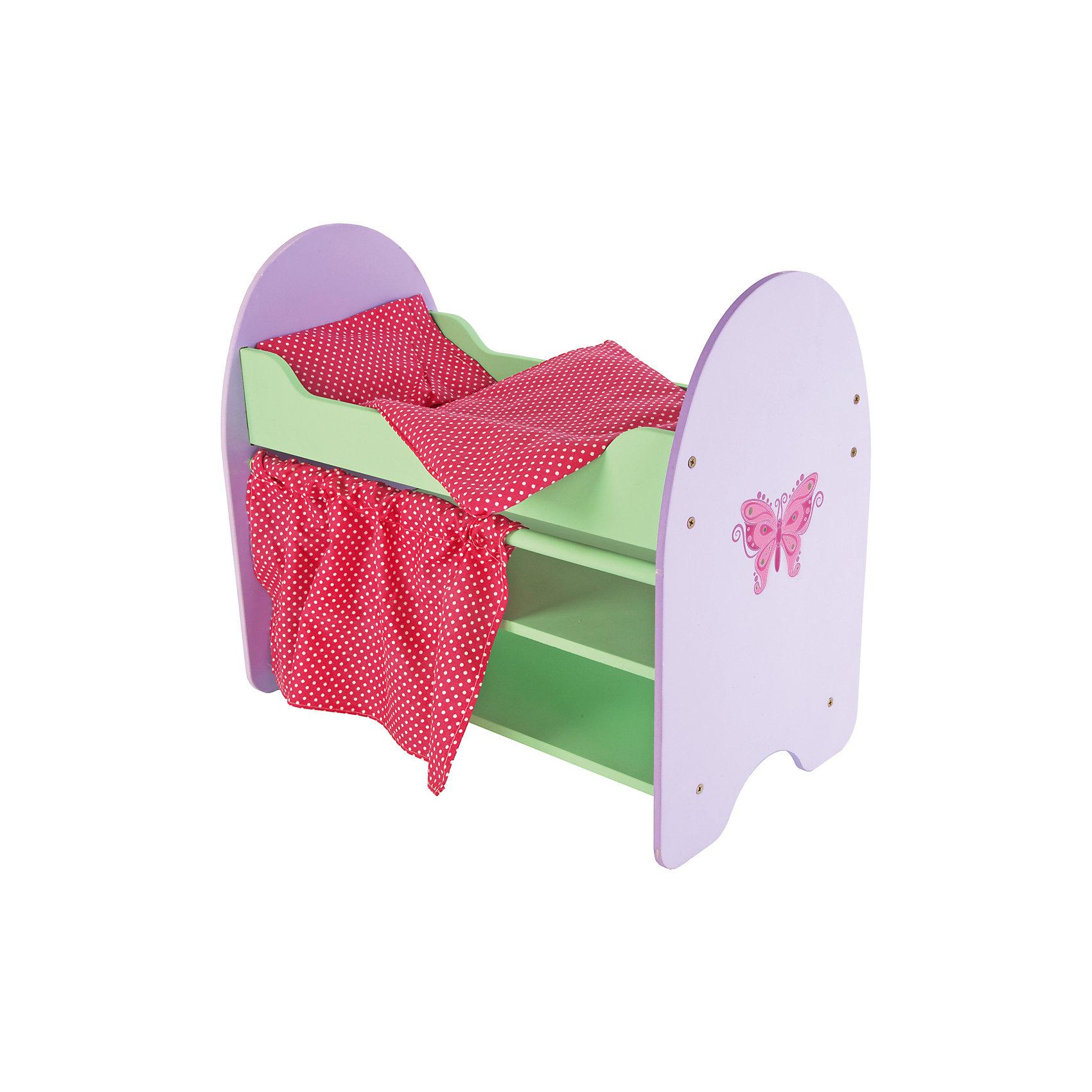 Кроватка Бабочка с полками, 51*30*45 см, Mary PoppinsБольшинство девочек любят играть в куклы. Дочки–матери – любимая игра, которая актуальна вне времени и пространства среди детей. Кукла – главный атрибут игры. Но куда укладывать куклу спать? Кроватка «Бабочка» - отличный вариант. Бортики не дадут выпасть кукле во время качания. Постельное белье яркого цвета придает кроватке натуральности. Играть с кроваткой интересно и просто! Материалы, использованные при изготовлении товара, абсолютно безопасны и отвечают всем международным требованиям по качеству.<br><br>Дополнительные характеристики:<br><br>материал: дерево, текстиль;<br>цвет: разноцветный;<br>габариты: 51*30*45 см.<br><br>Кроватку Бабочка с полками от компании Mary Poppins можно приобрести в нашем магазине.<br><br>Ширина мм: 530<br>Глубина мм: 320<br>Высота мм: 80<br>Вес г: 600<br>Возраст от месяцев: 36<br>Возраст до месяцев: 96<br>Пол: Женский<br>Возраст: Детский<br>SKU: 5032517