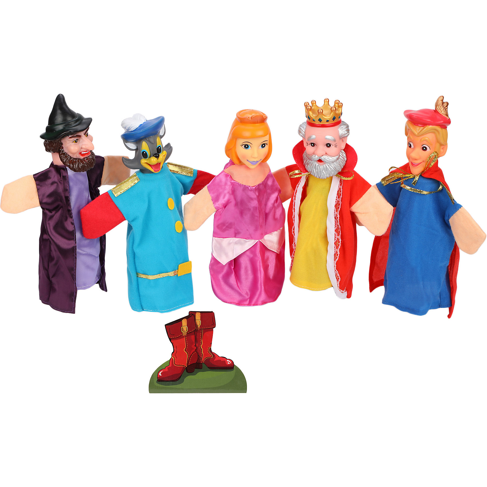 Кукольный театр Кот в сапогах, 5 кукол, ЖирафикиКукольный театр – настоящее искусство! Погрузите малыша в детский мир драмы с помощью уникальных игрушек – кукол! Играйте с ребенком вместе, показывайте ему свое представление или устройте настоящий домашний спектакль перед родными. Игра такого плана развивает у малыша актерские способности, любовь к выступлениям на публике, а так же улучшает творческие способности и развивает фантазию и воображение. Материалы, использованные при изготовлении товара, абсолютно безопасны и отвечают всем международным требованиям по качеству.<br><br>Дополнительные характеристики:<br><br>материал: пластик, ПВХ;<br>цвет: разноцветный;<br>количество: 5 кукол.<br><br>Кукольный театр Кот в сапогах от компании Жирафики можно приобрести в нашем магазине.<br><br>Ширина мм: 587<br>Глубина мм: 473<br>Высота мм: 419<br>Вес г: 500<br>Возраст от месяцев: 36<br>Возраст до месяцев: 96<br>Пол: Унисекс<br>Возраст: Детский<br>SKU: 5032543