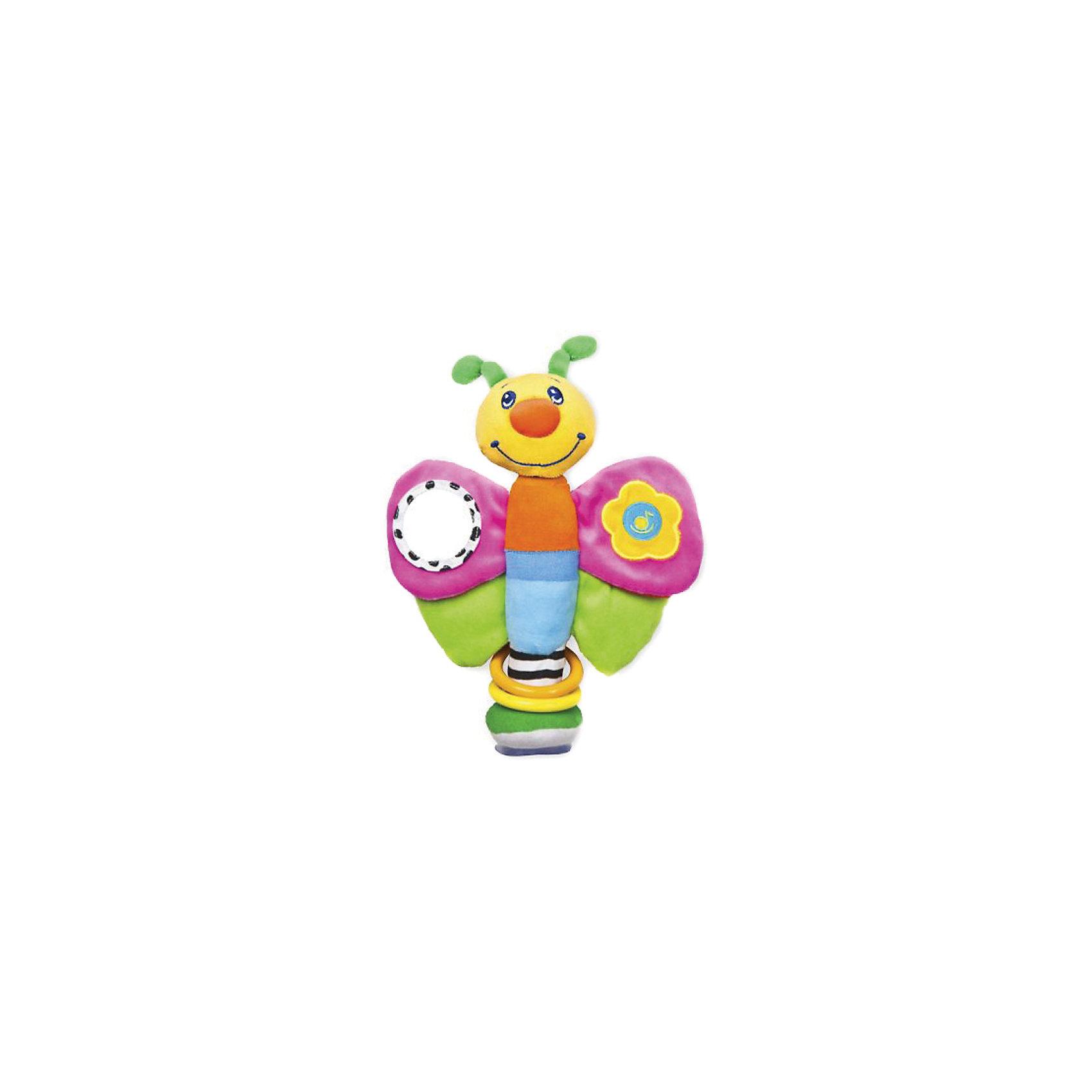 Развивающая игрушка Мотылек на присоске, ЖирафикиРазвивающие игрушки<br>Бабочка – новая универсальная игрушка для развития. В ней сочетается погремушка, зеркальце, и музыкальная вставка. Есть возможность прикрепить на гладкую поверхность с помощью присоски. Развивающие игрушки должны быть у каждого малыша. Такие игрушки будут не только развивать способности малыша во время веселой игры, но и радовать глаз, потому что современные развивающие модели красивые и обладают стильным дизайном. Материалы, использованные при изготовлении товара, абсолютно безопасны и отвечают всем международным требованиям по качеству.<br><br>Дополнительные характеристики:<br><br>материал: текстиль, пластик;<br>цвет: разноцветный;<br>габариты: 20 X 6 X 27см.<br><br>Развивающую игрушку Мотылек на присоске от компании Жирафики можно приобрести в нашем магазине.<br><br>Ширина мм: 620<br>Глубина мм: 575<br>Высота мм: 445<br>Вес г: 115<br>Возраст от месяцев: 3<br>Возраст до месяцев: 36<br>Пол: Унисекс<br>Возраст: Детский<br>SKU: 5032562