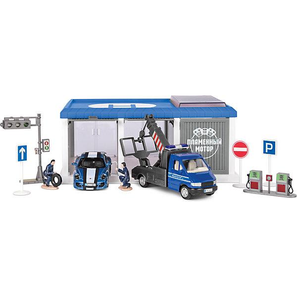 Гараж Автосервис, Пламенный моторПарковки и гаражи<br>Гараж – желанная игрушка всех малышей. Машинок много у всех мальчиков, а гараж есть у единиц. Осуществите мечту маленького автомеханика и подарите ему гараж! В комплект входит гаражный блок, машины и аксессуары к ним. Гараж даст возможность построить полноценный город! Компания выпускает множество игрушек, которые понравятся малышам, интересующимися машинами и другими автотранспортными средствами. Материалы, использованные при изготовлении товара, абсолютно безопасны и отвечают всем международным требованиям по качеству.<br><br>Дополнительные характеристики:<br><br>материал: пластик, металл;<br>цвет: разноцветный.<br><br>Гараж Автосервис от компании Пламенный мотор можно приобрести в нашем магазине.<br>Ширина мм: 485; Глубина мм: 400; Высота мм: 470; Вес г: 742; Возраст от месяцев: 36; Возраст до месяцев: 120; Пол: Мужской; Возраст: Детский; SKU: 5032582;