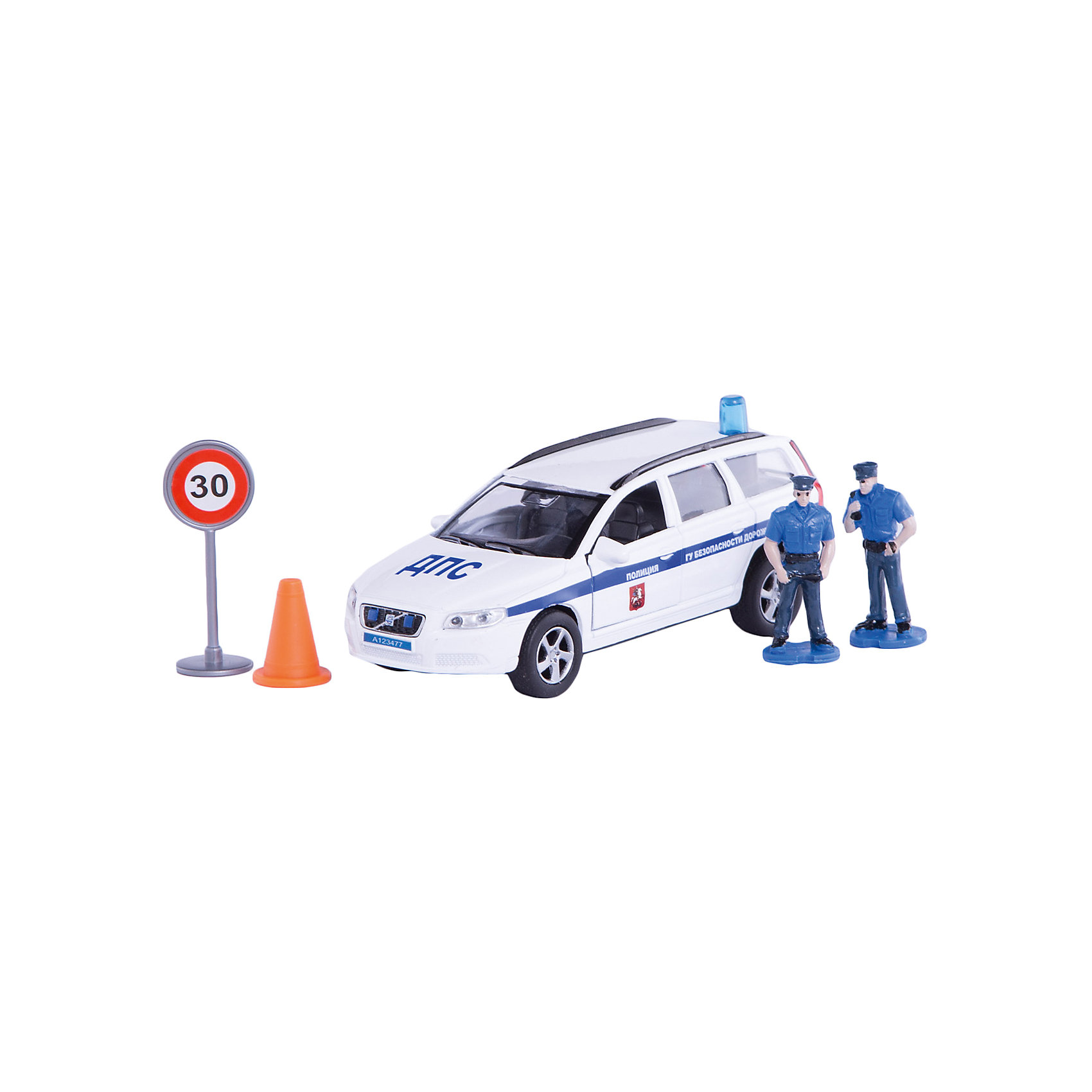 Пламенный мотор Машина Volvo Полиция ДПС ГУ БДД, 1:32, со светом и звуком, Пламенный мотор машина пламенный мотор volvo v70 дпс 870082