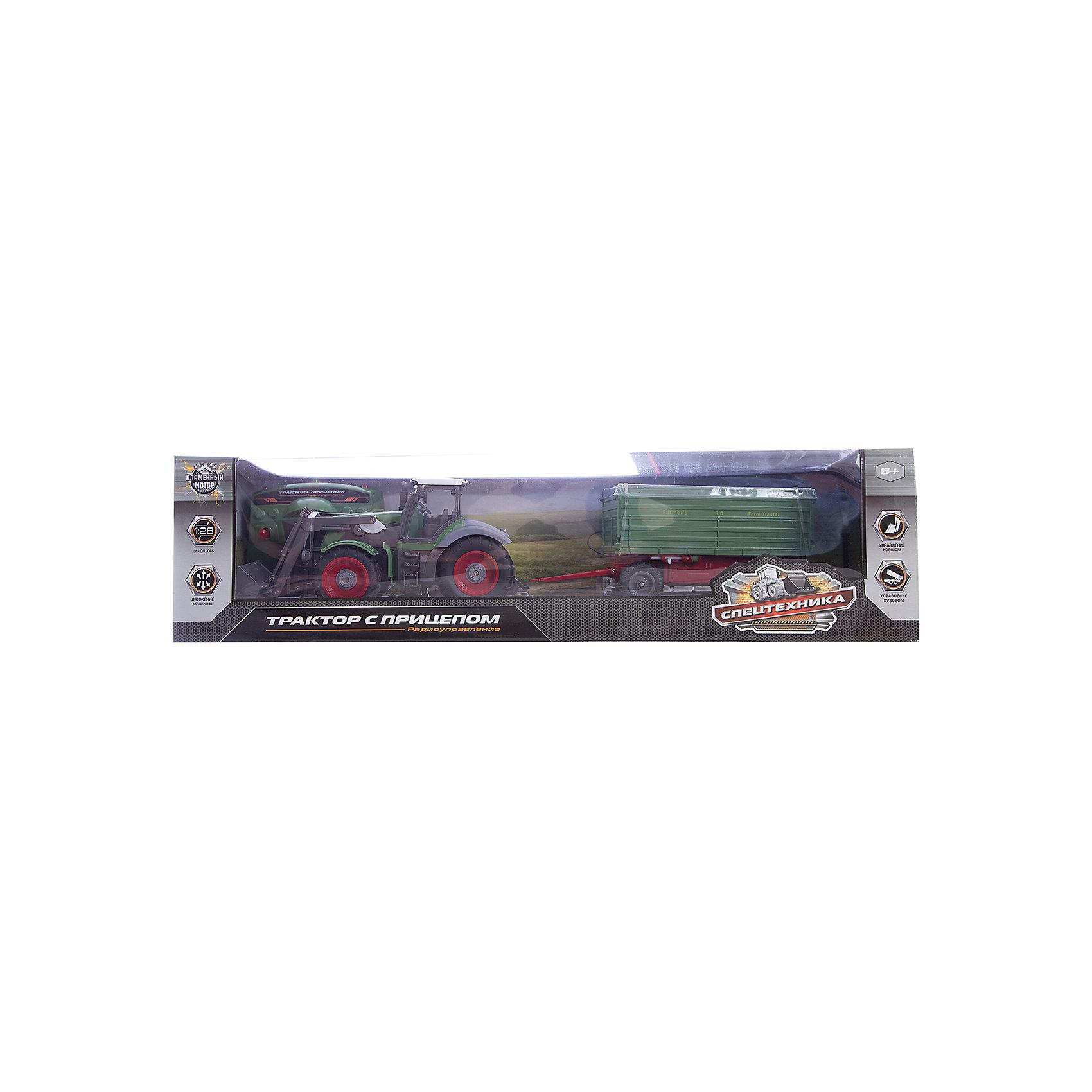 Пламенный мотор Трактор на р/у с ковшом и полуприцепом, 1:28, Пламенный мотор машинка пламенный мотор внедорожник 87593