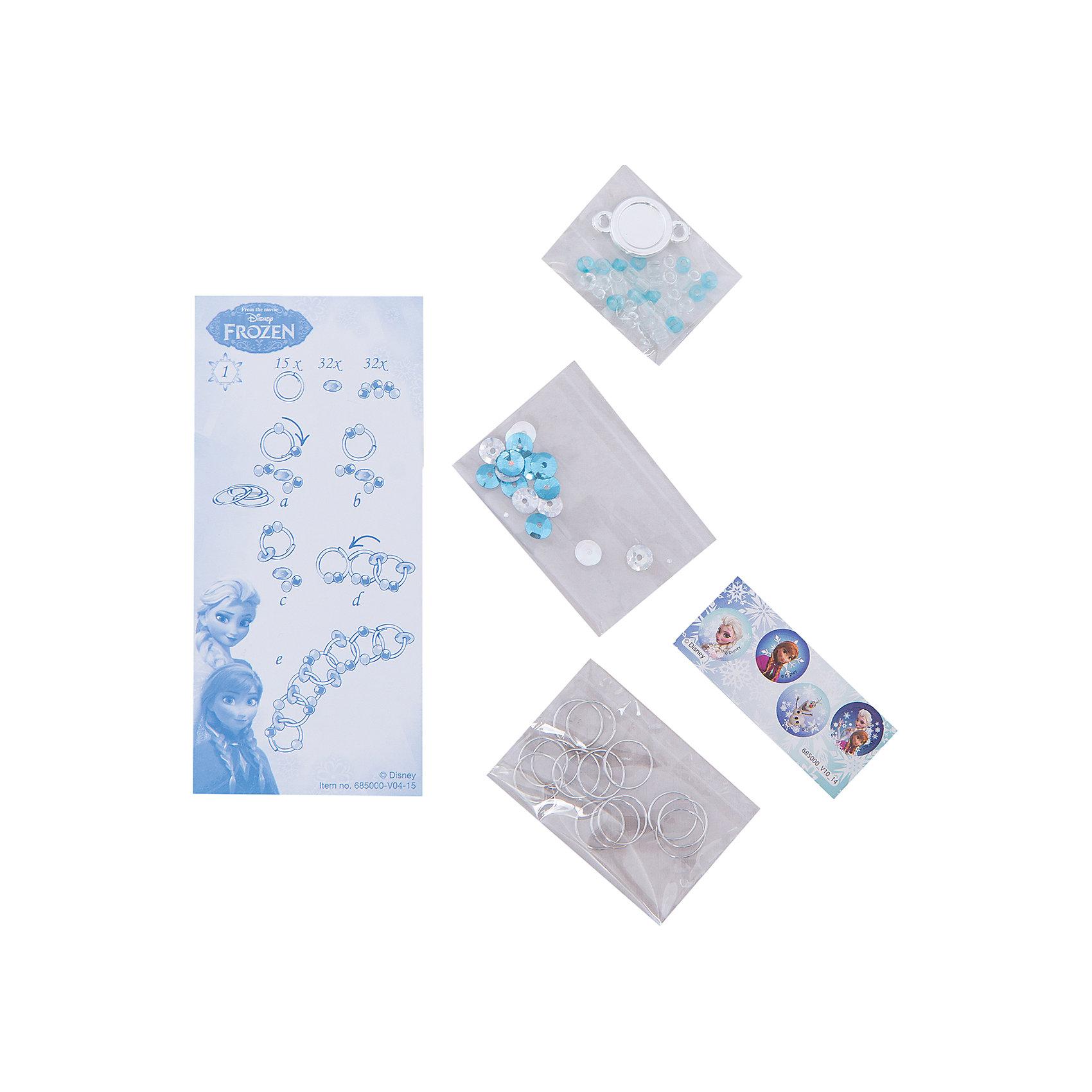 Набор для творчества FROZEN MINI ICE RING BRACELETРукоделие<br>Характеристики набора для творчества Frozen Mini Bracelet:<br><br>• возраст от 3 лет до 7 лет<br>• размер упаковки: 130x60x35 мм<br>• вес:25 г<br>• производитель: Totum<br><br>Дополнить образ красавицы из известной сказки юной умелице поможет набор для детского творчества Ice Ring Bracelet. Готовое украшение любая принцесса будет носить с гордостью и удовольствием, а всем вокруг останется лишь восхищаться ее талантами!<br>В комплект входит: 15 металлических колечек, набор наклеек Frozen, 32 цветные бусины, 2 фигурки, пошаговая инструкция.<br><br>Набора для творчества Frozen Mini  Ice Ring Bracelet можно купить в нашем интернет-магазине.<br><br>Ширина мм: 30<br>Глубина мм: 130<br>Высота мм: 60<br>Вес г: 45<br>Возраст от месяцев: 36<br>Возраст до месяцев: 84<br>Пол: Женский<br>Возраст: Детский<br>SKU: 5032618