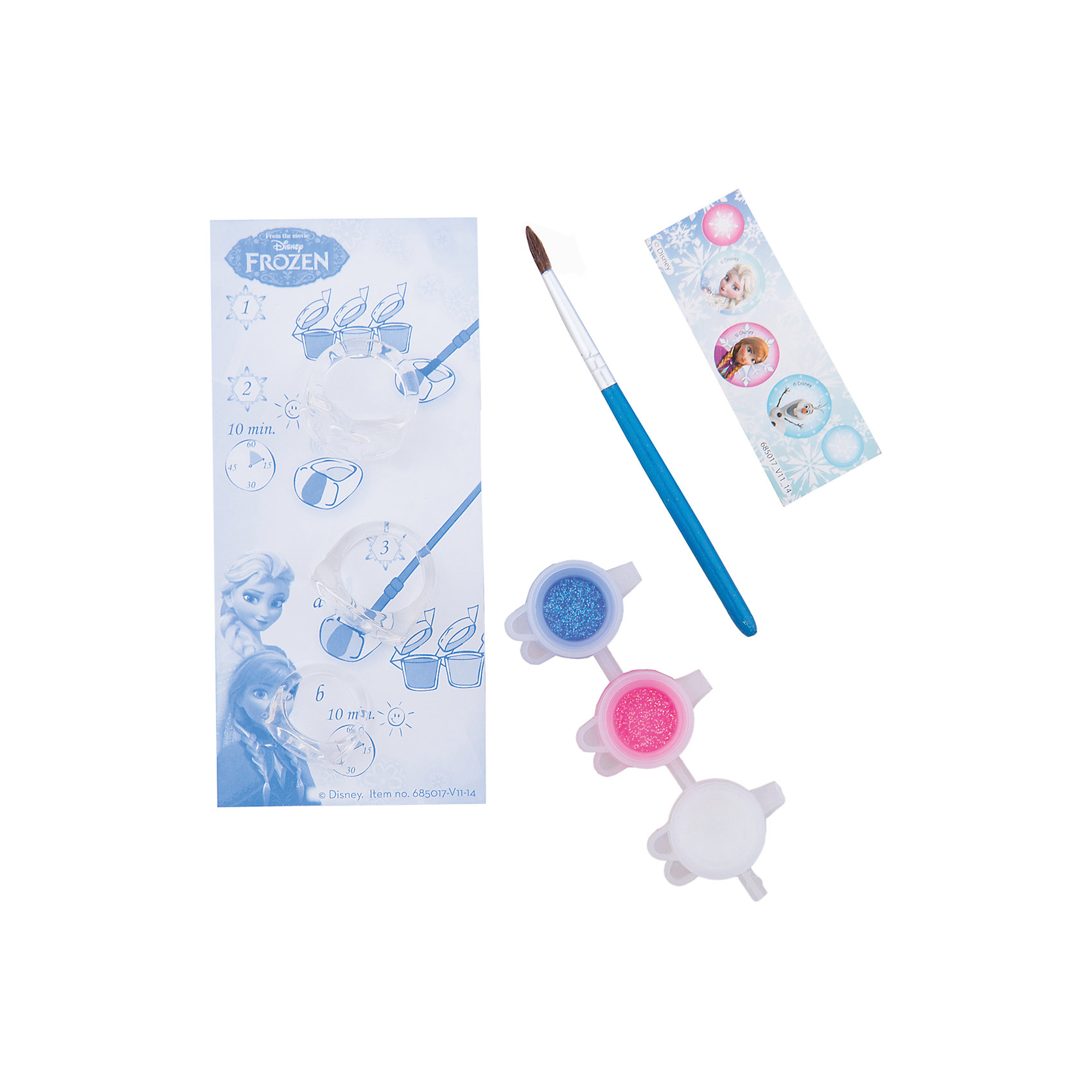 Набор для творчества FROZEN MINI CRYSTAL ICE RINGSПоследняя цена<br>Характеристики набора для творчества Frozen Mini Crystal Ice Rings :<br><br>• возраст от 3 лет до 7 лет<br>• размер упаковки: 130x60x35 мм<br>• вес:28 г<br>• производитель: Totum<br><br>С помощью этого набора Вы и Ваш ребенок сможете создать 3 восхитительных, модных колечка, которые можно раскрасить по своему вкусу разноцветными, яркими красками. В комплект входит: 3 прозрачных колечка, кисть, краски (3 цвета), набор наклеек Frozen, пошаговая инструкция.<br><br>Набора для творчества Frozen Mini Crystal Ice Rings можно купить в нашем интернет-магазине.<br><br>Ширина мм: 30<br>Глубина мм: 130<br>Высота мм: 60<br>Вес г: 45<br>Возраст от месяцев: 36<br>Возраст до месяцев: 84<br>Пол: Женский<br>Возраст: Детский<br>SKU: 5032619
