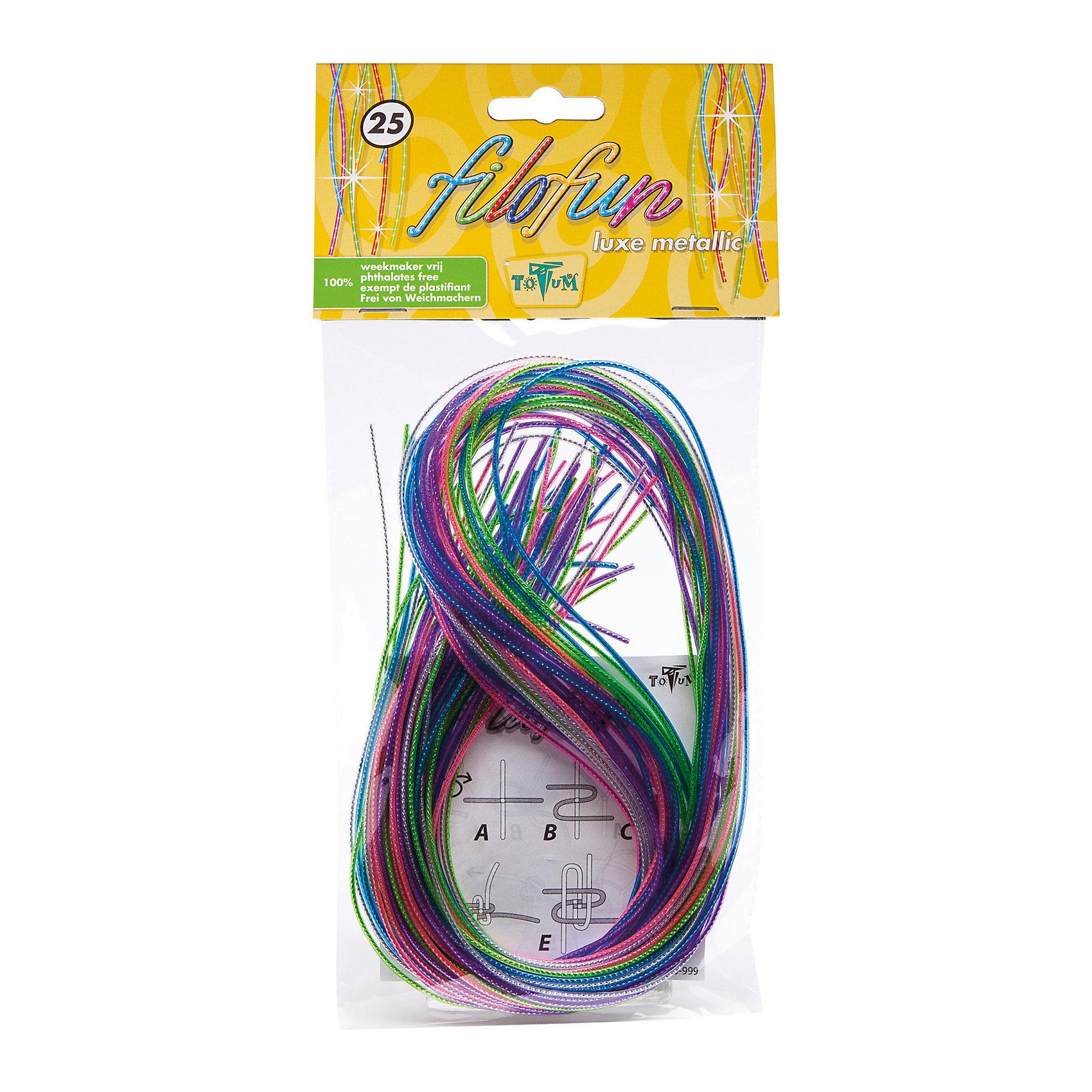 Набор для творчества FILOFUN LUXE METALLIC 25Набор  разноцветных трубочек, в комплекте 25 шт (по 80 см). Из них выйдет не один десяток стильных поделок, браслетов, которые можно торжественно вручить подружкам или сестренке. Набор также можно использовать в дополнение к основному набору FILO DO.<br><br>Ширина мм: 30<br>Глубина мм: 150<br>Высота мм: 120<br>Вес г: 91<br>Возраст от месяцев: 36<br>Возраст до месяцев: 84<br>Пол: Унисекс<br>Возраст: Детский<br>SKU: 5032623
