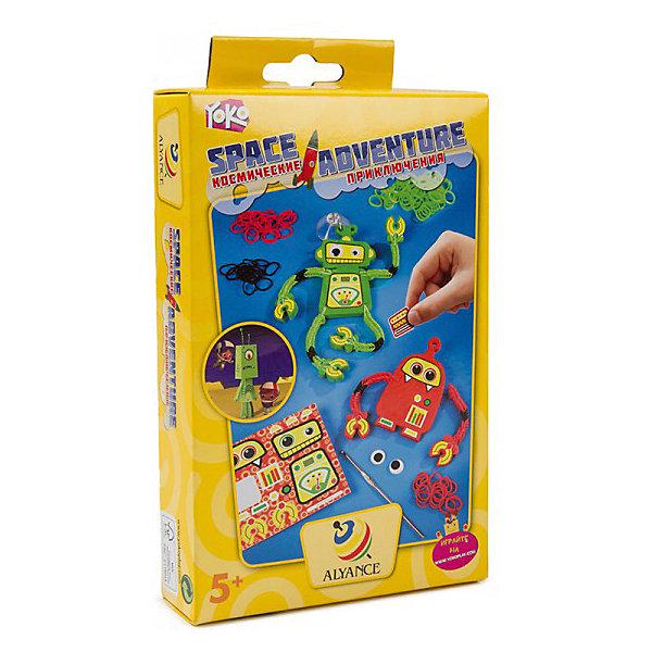 Набор для творчества YOKO Космические приключенияПоследняя цена<br>Набор для творчества YOKO Космические приключения<br><br>Характеристики:<br><br>- в набор входит: инструкция, крючок, цветные резинки (166), красные и зеленые резиновые детали, присоска, глаза (4 шт.), наклейки<br>- состав: резина, пластик, бумага<br>- вес: 300 гр.<br>- для детей в возрасте: от 5 до 12 лет<br>- Страна производитель: Китай<br><br>Необычный набор для изготовления роботов понравится как детям, так и родителям. Соберите роботов на свой вкус с помощью цветных резинок и деталей! Теперь можно отправляться за космическими приключениями! Процесс выполнения не занимает много времени, поэтому ребенку будет интересно им заниматься и он всегда успеет поиграть в готовых роботов. Работа с набором развивает моторику рук, воображение, усидчивость, аккуратность и внимание.<br><br>Набор для творчества YOKO Космические приключения можно купить в нашем интернет-магазине.<br>Ширина мм: 40; Глубина мм: 230; Высота мм: 130; Вес г: 125; Возраст от месяцев: 36; Возраст до месяцев: 84; Пол: Мужской; Возраст: Детский; SKU: 5032628;