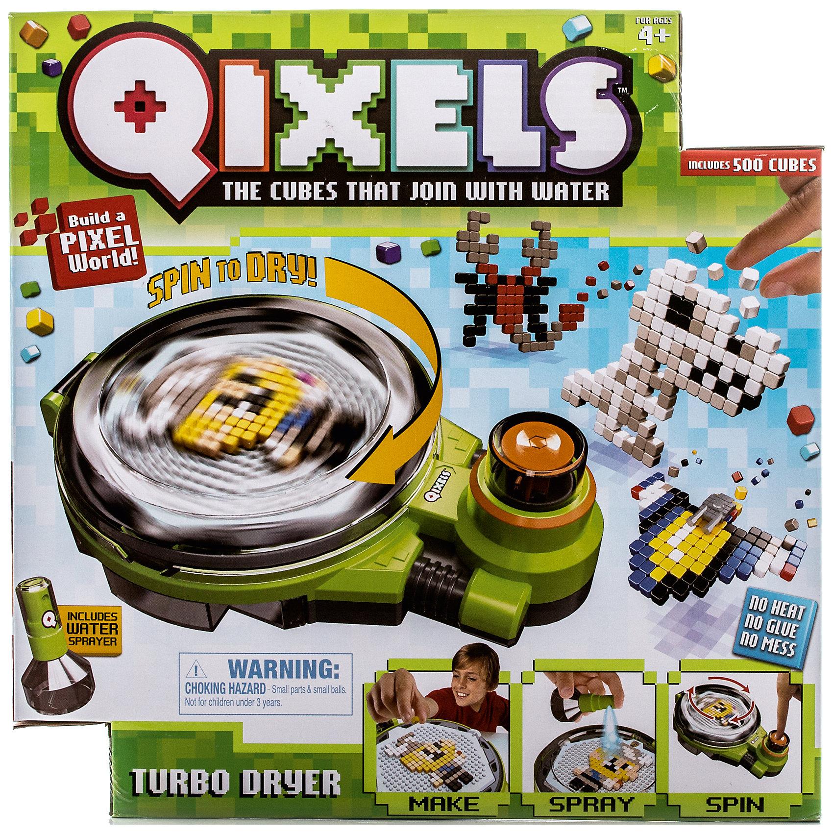 Набор для творчества Qixels Турбо сушкаНаборы для хобби и творчества Qixels (Квикселс) – это миниатюрные разноцветные кубики, которые скрепляются с помощью обыкновенной воды! Создайте фигурку, смочите её водой, поместите в турбо-сушку и дождитесь полного высыхания. Всего через каких-то 15 минут Ваша фигурка будет готова и с ней можно играть как с обычной игрушкой! Игровой набор подойдет как для мальчиков, так и для девочек. Вы можете использовать готовые лекала, входящие в комплект набора или фантазировать на свободные темы!<br>В комплект набора входит:<br>1 x Турбо сушка;<br>500 x кубиков;<br>2 x дизайн лотка;<br>4 x дизайн лекала;<br>2 x Опоры;<br>2 x Базы;<br>2 x Аксессуара;<br>1 x бирка и нить;<br>1 x емкость для хранения кубиков;<br>1 x распылитель для воды;<br>1 x инструкция.<br><br>Ширина мм: 80<br>Глубина мм: 290<br>Высота мм: 290<br>Вес г: 913<br>Возраст от месяцев: 72<br>Возраст до месяцев: 180<br>Пол: Унисекс<br>Возраст: Детский<br>SKU: 5032646