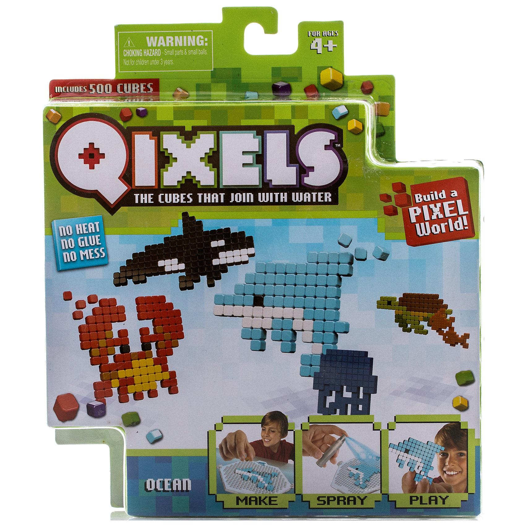 Набор для творчества Qixels ОкеанТематический набор для игр, детского хобби творчества Qixels Океан - это комплект миниатюрных разноцветных кубиков и лекал, с помощью которых можно создавать забавные двухмерные игрушки собственными руками. Соберите фигурку из ярких деталей по одному из 4-х лекал, входящих в комплект набора, после чего обрызгайте её водой из распылителя и подождите 30 минут. После высыхания, с полученной фигуркой можно играть как с самой обычной игрушкой! С помощью лекал, входящих в набор, Вы сможете создать 4 фигурки обитателей морских глубин – касатку, дельфина, черепашку и краба. Также Вы можете проявить воображение и нарисовать собственные лекала или же фантазировать на совершенно свободные темы!<br>В комплект набора входит:<br>500 x кубиков<br>1 x дизайн лоток<br>4 x цветных дизайн лекала<br>1 x опора<br>1 x база<br>2 x аксессуара<br>1 x бирка с нитью<br>1 x распылитель для воды<br>1 x инструкция<br><br>Ширина мм: 40<br>Глубина мм: 215<br>Высота мм: 185<br>Вес г: 233<br>Возраст от месяцев: 72<br>Возраст до месяцев: 180<br>Пол: Унисекс<br>Возраст: Детский<br>SKU: 5032647