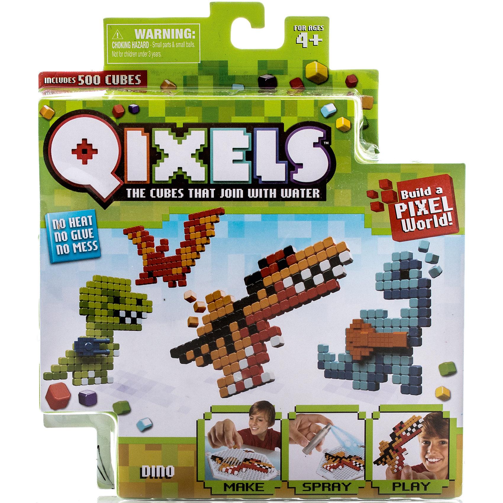 Набор для творчества Qixels ДинозаврыСоздание двухмерных фигурок из маленьких разноцветных кубиков – это новое хобби, которое непременно понравится Вам и Вашему ребенку. Тематический набор для творчества Qixels Динозавры позволит Вам сделать собственными руками забавные фигурки динозавриков. Соберите фигурку из ярких деталей по одному из 4-х лекал, входящих в комплект набора, после чего обрызгайте её водой из распылителя и подождите 30 минут. После высыхания, с полученной фигуркой можно играть как с самой обычной игрушкой! Кроме лекал, входящих в набор, Вы можете использовать свои собственные дизайн-лекала и собирать из кубиков Квикселс совершенно уникальных и неповторимых персонажей.<br>В комплект набора входит:<br>500 x кубиков<br>1 x дизайн лоток<br>4 x цветных дизайн лекала<br>1 x опора<br>1 x база<br>2 x аксессуара<br>1 x бирка с нитью<br>1 x распылитель для воды<br>1 x инструкция<br><br>Ширина мм: 40<br>Глубина мм: 215<br>Высота мм: 185<br>Вес г: 233<br>Возраст от месяцев: 72<br>Возраст до месяцев: 180<br>Пол: Унисекс<br>Возраст: Детский<br>SKU: 5032648