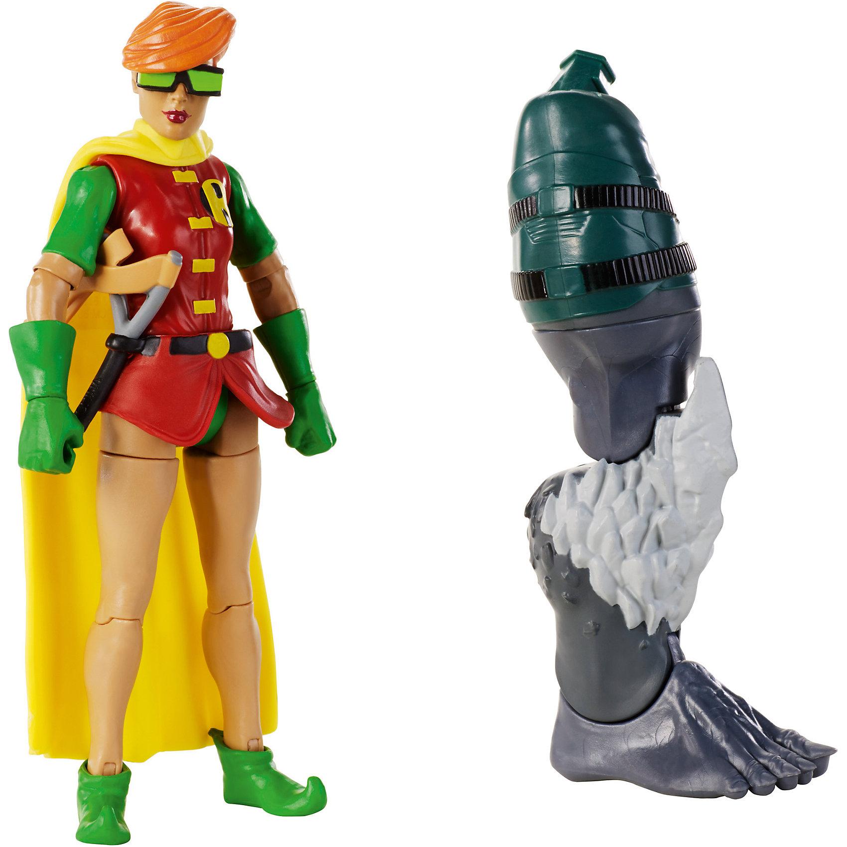 DC Comics: Робин из серии «Возращение тёмного рыцаря»Коллекционные и игровые фигурки<br>Фигурка DC Comics: Робин из серии «Возвращение тёмного рыцаря» от известного американского бренда детских игрушек Mattel (Маттел). Эта специальная серия Вселенной DC Comics состоит из фигурок главных героев. Фигурка Робин выпущена в соответствии с комиксом о Бэтмене, где он является супер героем и борцом за справедливость, а Робин – его новая помощница. Девочке всего 13 лет, но она отлично справляется со злодеями. Хорошо выполненная пятнадцати сантиметровая фигурка Робин имеет восемнадцать точек артикуляции. Руки поворачиваются в плечах, гнутся в локтях и кистях, торс поворачивается, можно посадить фигурку на поперечный шпагат, ноги гнутся в коленях, также двигаются ступни. Плащ костюма Робин состоит из мягкого пластика и гнется, позволяя фигурке двигаться. Насыщенные цвета и отличная детализация фигурки придет по вкусу как фанатам фильмов, так и фанатам супер героев и комиксов.<br>Дополнительная информация:<br><br>- В набор входит: фигурка, декоративная рогатка, правая нога Думсдея<br>- Состав: пластик<br>- Размер: около 10 см. <br><br>Фигурку DC Comics: Робин из серии «Возвращение тёмного рыцаря» можно купить в нашем интернет-магазине.<br><br>Ширина мм: 55<br>Глубина мм: 150<br>Высота мм: 265<br>Вес г: 252<br>Возраст от месяцев: 48<br>Возраст до месяцев: 120<br>Пол: Мужской<br>Возраст: Детский<br>SKU: 5032899