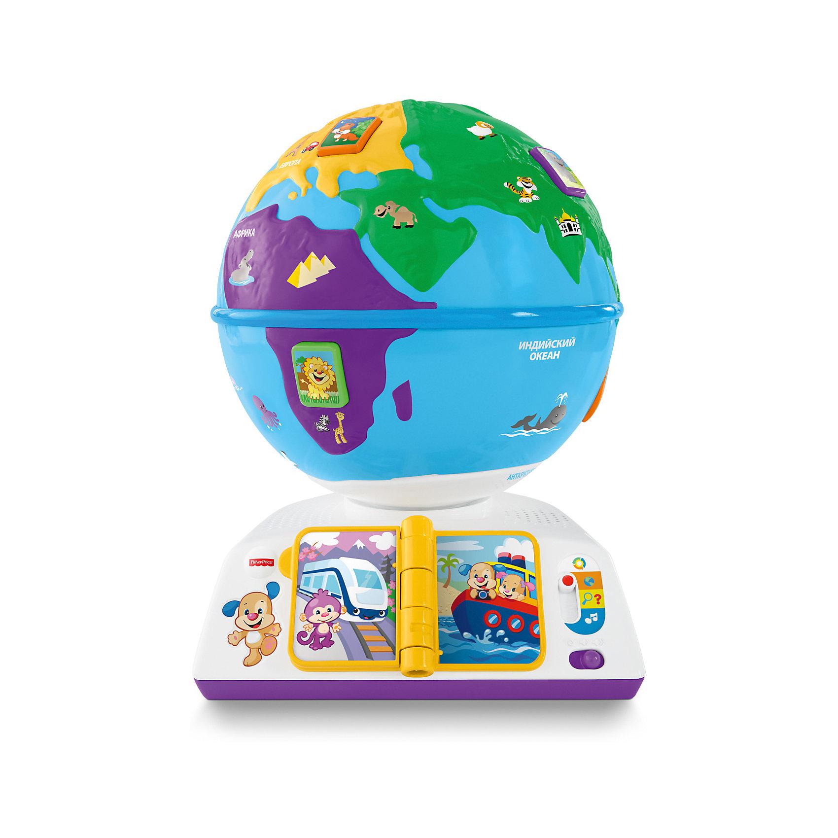 Обучающий глобус, Fisher PriceОбучающий глобус - интересная новинка от американского бренда Fisher-рrice (Фишер-прайс). Яркий, разноцветный глобус на интерактивной подставке научит малыша о том, что есть наша планета и какие на ней обитают звери, какие звуки издают животные и как приветствуют друг друга люди на разных континентах, на каком транспорте можно передвигаться, а также научиться новым песенкам. Игрушка содержит более ста песен, фраз и звуков. Интерактивные кнопки на  вращающемся глобусе понравятся малышу, а знаменитый щенок от Fisher-рrice (Фишер-прайс) со своей маленькой сестрой научат новому. Благодаря технологии Smart Stages, игрушка имеет три уровня: обучение видам животных ,вовлечение с помощью вопросов предлагается отыскать этих животных, развитие – с помощью песен заинтересовать малыша игрой о животных. Игрушка выполнена из гипоаллергенных материалов безопасных для детей и поможет малышу развиваться играя.<br><br>Дополнительная информация:<br>- Материал: пластик <br>- Размер коробки: 22 * 33 * 29 см.<br>- Элемент питания: 3 АА батарейки ( в комплекте - демонстрационные). <br>- 100+ песенок, фраз, звуков<br><br>Обучающий глобус, Fisher-price (Фишер-прайс), можно купить в нашем магазине.<br><br>Ширина мм: 220<br>Глубина мм: 290<br>Высота мм: 330<br>Вес г: 1805<br>Возраст от месяцев: 18<br>Возраст до месяцев: 36<br>Пол: Унисекс<br>Возраст: Детский<br>SKU: 5032901