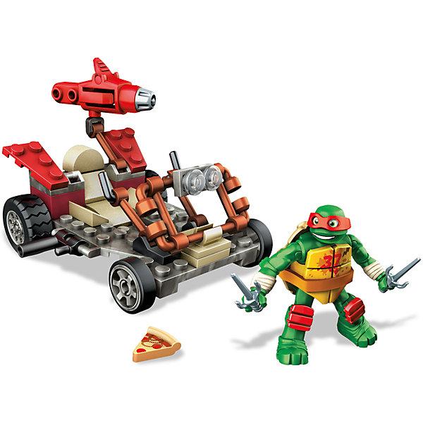 Черепашки – гонщики, MEGA BLOKSПластмассовые конструкторы<br>Характеристики:<br><br>• тип игрушки: игровой набор;<br>• возраст: от 5 лет;<br>• количество деталей: 58 шт;<br>• комплектация: фигурка, элементы конструктора;<br>• размер: 5х16х21 см;<br>• бренд: Mega Bloks;<br>• материал: пластик;<br>• страна бренда: Канада.<br><br>Набор Черепашки – гонщики, MEGA BLOKS  порадует поклонников героев комиксов «Черепашки-ниндзя».  Из 58 пластиковых деталей ребенок может собрать гоночный транспорт с лазерной пушкой.<br><br>В комплект также входит подвижная фигурка черепашки-мутанта в красной маске. Его руки и ноги оснащены особыми креплениями не только в местах соединения с туловищем, но и в локтевых и коленных суставах, позволяя придавать Рафаэлю различное положение. В его ручки можно вставить его оружие или любимую всеми черепашками-ниндзя пиццу.<br>Фигурку можно зажать на подвижный скоростной транспорт. Такой яркий потрясающий набор может дополнить коллекцию конструкторов с персонажами Teenage Mutant Ninja Turtles.<br><br>Черепашек – гонщиков, MEGA BLOKS  можно купить в нашем интернет-магазине.<br>Ширина мм: 45; Глубина мм: 150; Высота мм: 205; Вес г: 227; Возраст от месяцев: 60; Возраст до месяцев: 120; Пол: Мужской; Возраст: Детский; SKU: 5032906;