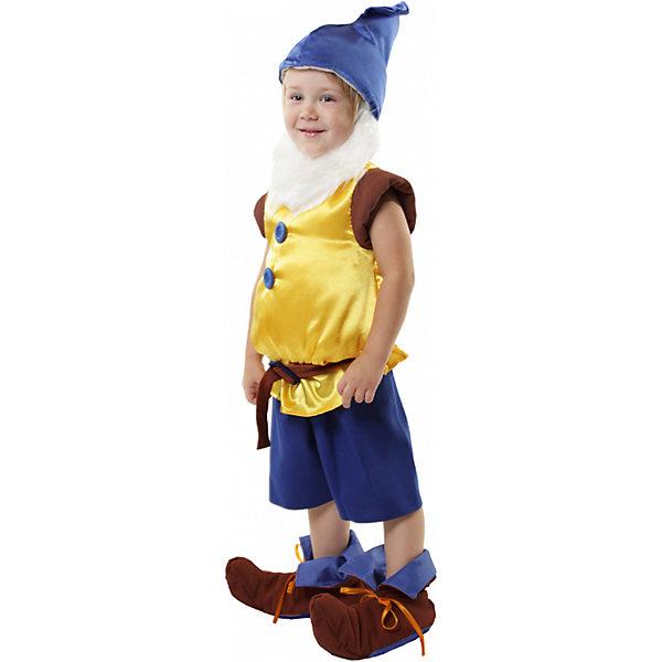 Карнавальный костюм Гномик, ВестификаКарнавальные костюмы для мальчиков<br>Карнавальный костюм Гномик, Вестифика. В комплект входит: Жилет, шорты, колпак, пояс, борода, ботинки.<br><br>Ширина мм: 450<br>Глубина мм: 80<br>Высота мм: 350<br>Вес г: 350<br>Возраст от месяцев: 36<br>Возраст до месяцев: 60<br>Пол: Мужской<br>Возраст: Детский<br>Размер: 98/110,116/122<br>SKU: 5033380