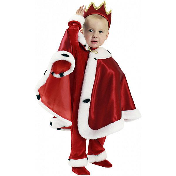 Карнавальный костюм Король, ВестификаКарнавальные костюмы для мальчиков<br>Характеристики товара:<br><br>• цвет: красный<br>• комплектация: комбинезончик, мантия, корона, пинетки<br>• материал: текстиль<br>• сезон: круглый год<br>• особенности модели: для праздника<br>• страна бренда: Россия<br>• страна изготовитель: Россия<br><br>Детский карнавальный костюм Король выглядит оригинально и нарядно. Детский костюм комфортно сидит на ребенке благодаря качественному материалу. Этот праздничный наряд для ребенка состоит из нескольких предметов, которые позволят создать целостный образ.<br><br>Карнавальный костюм «Король» Вестифика для мальчика можно купить в нашем интернет-магазине.<br>Ширина мм: 450; Глубина мм: 80; Высота мм: 350; Вес г: 150; Возраст от месяцев: 12; Возраст до месяцев: 18; Пол: Унисекс; Возраст: Детский; Размер: 86/92,80,74,80/86; SKU: 5033389;