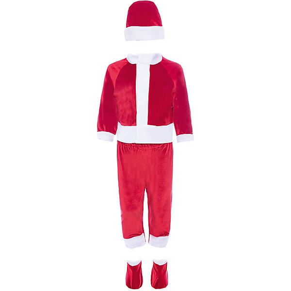 Карнавальный костюм Санта Клаус, ВестификаКарнавальные костюмы для мальчиков<br>Характеристики товара:<br><br>• цвет: красный<br>• комплектация: кофточка, брючки, колпак<br>• материал: текстиль<br>• сезон: круглый год<br>• особенности модели: для праздника<br>• страна бренда: Россия<br>• страна изготовитель: Россия<br><br>Карнавальный костюм Санта позволит ребенку легко перевоплотиться в этого персонажа. Такой набор для ребенка - полноценный наряд для праздника или сценки. Детский костюм Санта сделан из качественного текстиля. Карнавальный комплект для ребенка оригинальный и удобный.<br><br>Карнавальный костюм «Санта» Вестифика для мальчика можно купить в нашем интернет-магазине.<br><br>Ширина мм: 450<br>Глубина мм: 80<br>Высота мм: 350<br>Вес г: 150<br>Цвет: белый<br>Возраст от месяцев: 9<br>Возраст до месяцев: 24<br>Пол: Унисекс<br>Возраст: Детский<br>Размер: 74/80,86/92,80/86<br>SKU: 5033393