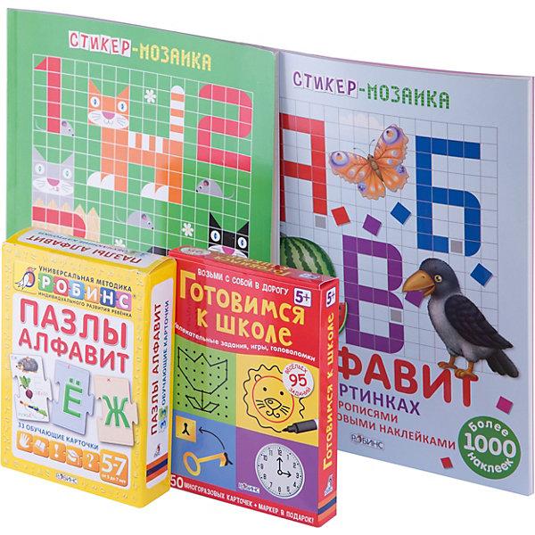 Комплект карточек Готовимся к школеОбучающие карточки<br>В состав комплекта входят:                                                                       - две стиккер-мозаики с многоразовыми наклейками, которые помогут изучить буквы и цифры;                                              - специально разработанные карточки-пазлы для детей от 5 лет, которые помогут выучить буквы и освоить  слоговое чтение;                                                                                                          - набор многоразовых карточек для подготовки к первому классу с играми-задачками и головоломками.<br><br>Ширина мм: 275<br>Глубина мм: 140<br>Высота мм: 13<br>Вес г: 600<br>Возраст от месяцев: 60<br>Возраст до месяцев: 108<br>Пол: Унисекс<br>Возраст: Детский<br>SKU: 5034139