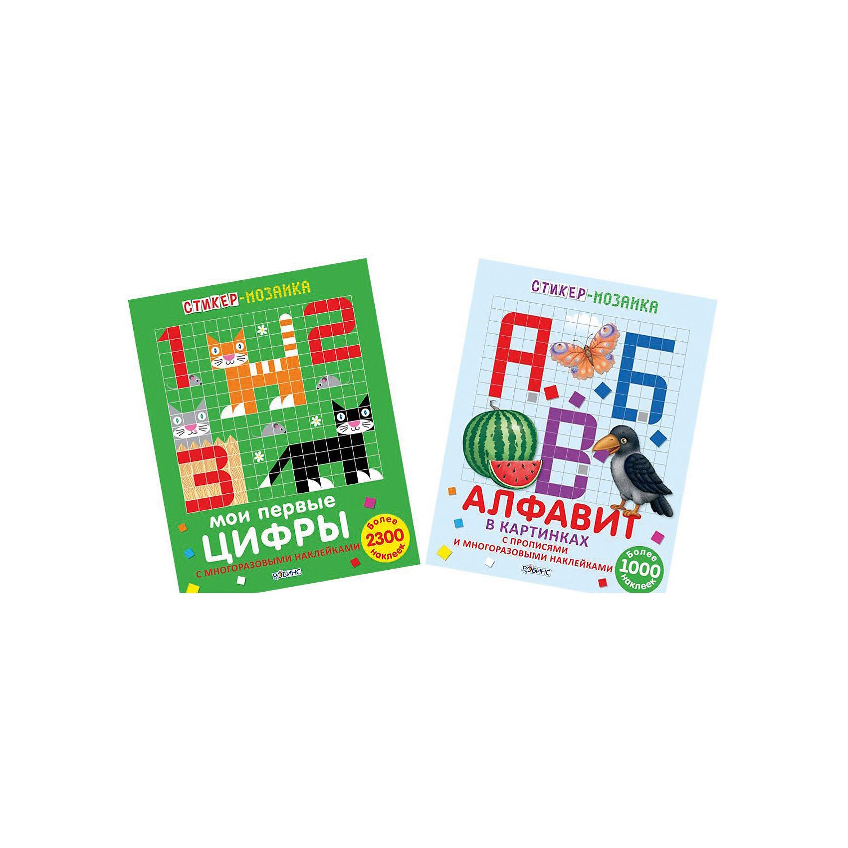 Комплект из 2 книг Стикер-мозаика: Буквы и цифрыОбучающие книги<br>В состав комплекта входят две стикер-мозаики для изучения букв и цифр. Книжки с многоразовыми наклйеками, прописями, ламинированными страничками на перфорации. Книжки специально разработаны для интересного и веселого изучения алфавита и цифр.<br><br>Ширина мм: 278<br>Глубина мм: 215<br>Высота мм: 4<br>Вес г: 278<br>Возраст от месяцев: 60<br>Возраст до месяцев: 108<br>Пол: Унисекс<br>Возраст: Детский<br>SKU: 5034140