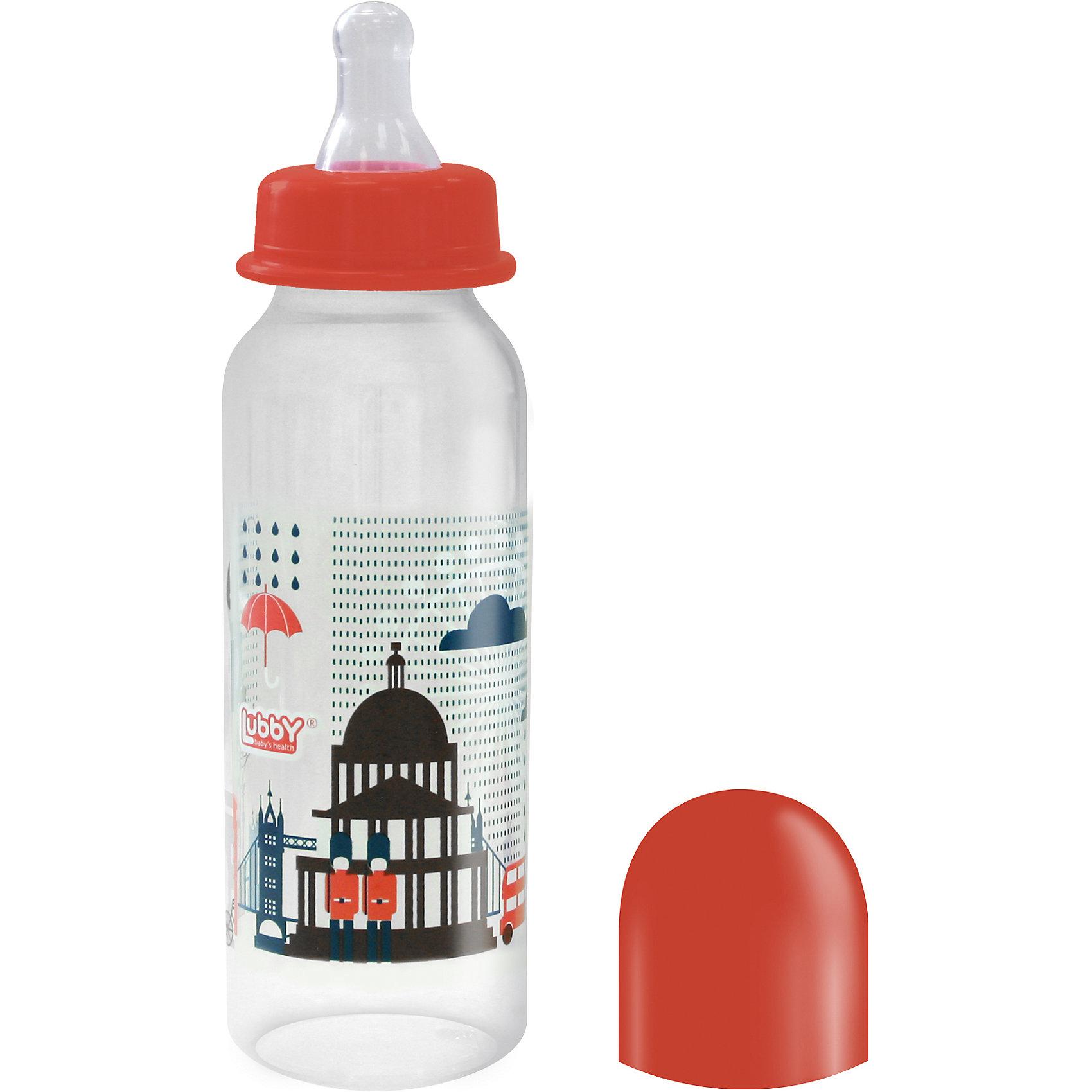 Бутылочка с соской Я люблю от 0 мес., 250 мл., LUBBY, красныйБутылочки и аксессуары<br>Бутылочка с соской Я люблю от 0 мес., 250 мл., LUBBY, красный.<br><br>Характеристики:<br><br>- Комплектация: бутылочка, соска, кольцо, колпачок, заглушка<br>- Объем: 250 мл.<br>- Размер соски: М (средний поток)<br>- Цвет: красный<br>- Материал: бутылочка, кольцо, заглушка, колпачок – полипропилен; соска – силикон<br>- Не содержит Бисфенол-А<br>- Размер упаковки: 55х55х190 мм.<br>- Вес: 56 гр.<br>- Срок службы: бутылочки - 1год, соски - 45 дней<br><br>Удобная бутылочка Я люблю с мягкой силиконовой соской предназначена для комфортного искусственного или смешанного вскармливания малышей. Бутылочка изготовлена из полипропилена, в составе которого отсутствуют вредные вещества. Соска размера М (средний поток) изготовлена из силикона - прочного гипоаллергенного материала, который не вступает в химическую реакцию со слюной, хорошо стерилизуется, не теряет форму и не впитывает запахи. Закупоривающийся диск легко вставляется в завинчивающееся кольцо, что позволяет бутылочке оставаться герметичной даже во время сильной встряски. Изделие с широким горлышком легко моется и заполняется. Стильный дизайн бутылочки с изображением Лондона понравится мамам и малышам.<br><br>Бутылочку с соской Я люблю от 0 мес., 250 мл., LUBBY, красную можно купить в нашем интернет-магазине.<br><br>Ширина мм: 55<br>Глубина мм: 55<br>Высота мм: 190<br>Вес г: 350<br>Возраст от месяцев: 0<br>Возраст до месяцев: 18<br>Пол: Унисекс<br>Возраст: Детский<br>SKU: 5039268