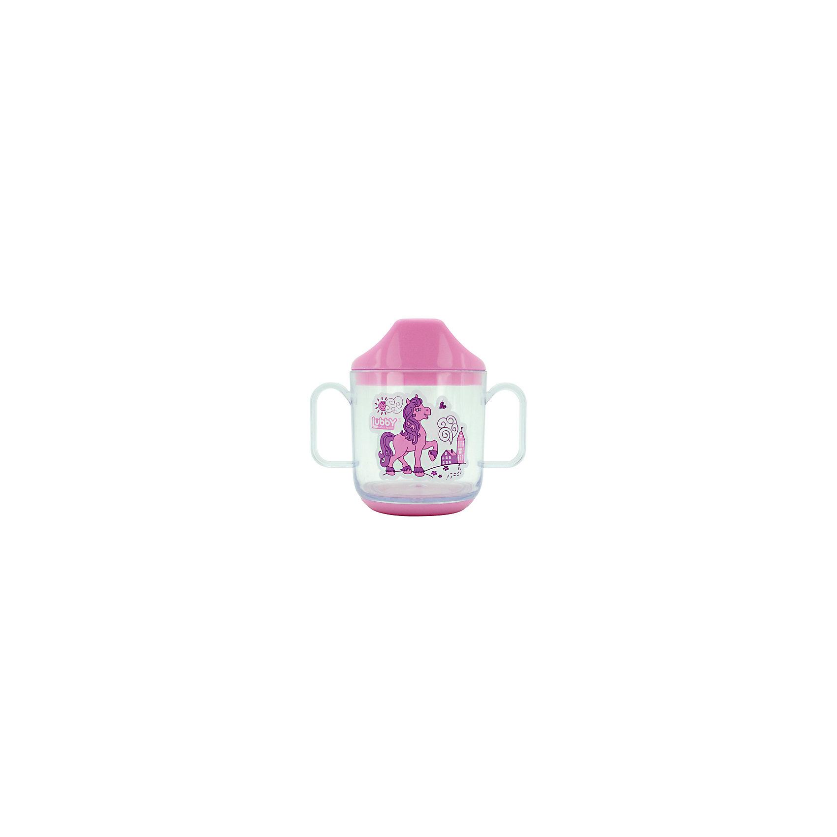 Кружка-поильник Веселые животные от 6 мес. 150 мл., LUBBY, розовыйПоильники<br>Кружка-поильник Веселые животные от 6 мес. 150 мл., LUBBY, розовый.<br><br>Характеристики:<br><br>- Объем: 150 мл.<br>- Цвет: розовый<br>- Высота: 9,5 см.<br>- Диаметр: 7,5 см.<br>- Материал: кружка - стиролакрилонитрил, крышка - полипропилен, дно - безопасный пластик (ABS)<br>- Не содержит бисфенол-А<br>- Размер упаковки: 14x7x19 см.<br>- Срок службы: 1 год<br>- Уход: Перед каждым использованием кружку-поильник необходимо мыть теплой водой с мылом, тщательно ополаскивать<br><br>Эргономичная тренировочная кружка «Веселые животные» поможет вашему малышу легко обучиться навыкам питья из чашки. Специальная крышечка имеет носик, который превращает кружку в поильник. Шкала на кружке позволит точно отмерить необходимое количество жидкости. Кружка дополнена удобными ручками, благодаря которым малыш может удерживать ее самостоятельно. Кружка-поильник имеет широкое устойчивое основание, защищающее ее от опрокидывания. Изделие выполнено из высококачественных и абсолютно безопасных для здоровья материалов. Забавный рисунок выполнен из красителей, не содержащих опасных веществ.<br><br>Кружку-поильник Веселые животные от 6 мес. 150 мл., LUBBY, розовую можно купить в нашем интернет-магазине.<br><br>Ширина мм: 140<br>Глубина мм: 70<br>Высота мм: 190<br>Вес г: 350<br>Возраст от месяцев: 6<br>Возраст до месяцев: 36<br>Пол: Женский<br>Возраст: Детский<br>SKU: 5039286