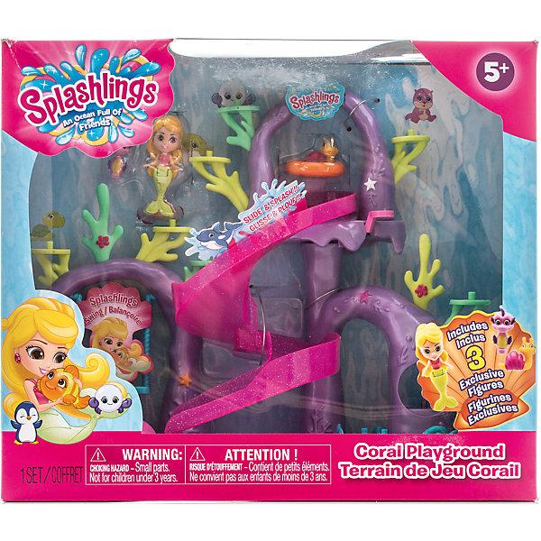 Игровой набор Коралловая игровая площадка, SplashlingsКоллекционные и игровые фигурки<br>Характеристики товара:<br><br>- цвет: разноцветный;<br>- материал: пластик;<br>- комплектация: игровая площадка, русалочка, 2 питомца, ракушка;<br>- рекомендуемый возраст: 4 - 8 лет;<br>- размер упаковки: 13х28х32 см;<br>- вес: 1000 г.<br><br>Такой яркий набор не оставит ребенка равнодушным! Какой малыш откажется поиграть с веселыми обитателями океана?! Игрушка отлично детализирована, очень качественно выполнена, поэтому она станет отличным подарком ребенку. В наборе идут игровая площадка, русалочка, 2 питомца, ракушка. С ними можно придумать множество сюжетов, разыгрывая которые, ребенок развивает мелкую моторику, воображение и творческое мышление.<br>Изделие произведено из высококачественного материала, безопасного для детей.<br><br>Игровой набор Коралловая игровая площадка от бренда Splashlings можно купить в нашем интернет-магазине.<br>Ширина мм: 130; Глубина мм: 279; Высота мм: 325; Вес г: 1019; Возраст от месяцев: 60; Возраст до месяцев: 2147483647; Пол: Женский; Возраст: Детский; SKU: 5039868;