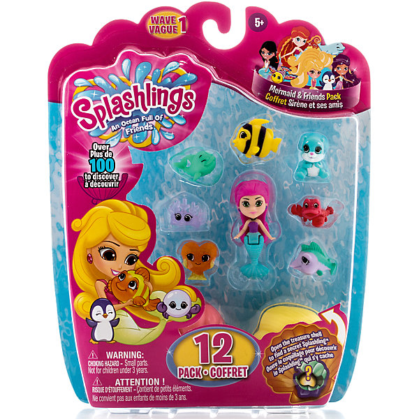 Игровой набор Русалка, 9 питомцев, 2 ракушки, SplashlingsИгровые наборы с фигурками<br>Игровой набор Русалка, 9 питомцев, 2 ракушки, Splashlings (Сплешлингс).<br><br>Характеристики:<br><br>• Комплект: русалка, 9 питомцев Splashlings, 2 ракушки, буклет..<br>• Материал (состав): пластик.<br>• Размер упаковки: 20х4х26 см.<br><br>Игровой набор Русалка, 4 питомца, 1 ракушка, Splashlings (Сплешлингс)- это замечательный комплект с 9 зверюшками, 2 ракушками и фигуркой морской красавицы! Этот набор с сюрпризом - в ракушках скрываются два секретных питомца, увидеть которых, можно только после вскрытия упаковки. <br>Русалка выполнена с длинными пластиковыми волосами <br>и подвижным хвостом. Раковины можно использовать как кроватки для зверюшек.<br>С таким набором ребенок сможет весело играть, воссоздавая сценки из мультфильма, либо придумывая свои новые захватывающие сюжеты и истории! <br><br>Игровой набор Русалка, 9 питомцев, 2 ракушки, Splashlings (Сплешлингс) можно купить в нашем интернет - магазине.<br><br>Ширина мм: 38<br>Глубина мм: 254<br>Высота мм: 203<br>Вес г: 166<br>Возраст от месяцев: 60<br>Возраст до месяцев: 2147483647<br>Пол: Женский<br>Возраст: Детский<br>SKU: 5039871