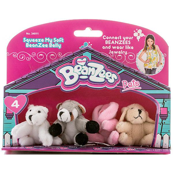 Мини-плюш в наборе Медведь, Енот, Кролик, Песик, BeanzeezМягкие игрушки животные<br>Характеристики товара:<br><br>- цвет: разноцветный;<br>- материал: текстиль;<br>- комплектация: 4 фигурки животных;<br>- особенности: наличие на лапках липучек, игрушку можно соединять с другими героями из серии;<br>- живот заполнен гранулами;<br>- размер упаковки: 5х15х19 см;<br>- упаковка: блистер;<br>- вес: 100 г.<br><br>Такая симпатичная игрушка не оставит ребенка равнодушным! Какой малыш откажется поиграть с маленькими плюшевыми игрушками из большой пушистой коллекции?! Игрушки очень качественно выполнены, поэтому такой набор станет отличным подарком ребенку. В наборе идет четыре плюшевых фигурки животных. С ними можно придумать множество сюжетов, разыгрывая которые, ребенок развивает мелкую моторику, воображение и творческое мышление.<br>Изделие произведено из высококачественного материала, безопасного для детей.<br><br>Мини-плюш в наборе Медведь, Енот, Кролик, Песик от бренда Beanzeez можно купить в нашем интернет-магазине.<br>Ширина мм: 50; Глубина мм: 150; Высота мм: 190; Вес г: 93; Возраст от месяцев: 36; Возраст до месяцев: 2147483647; Пол: Женский; Возраст: Детский; SKU: 5039895;