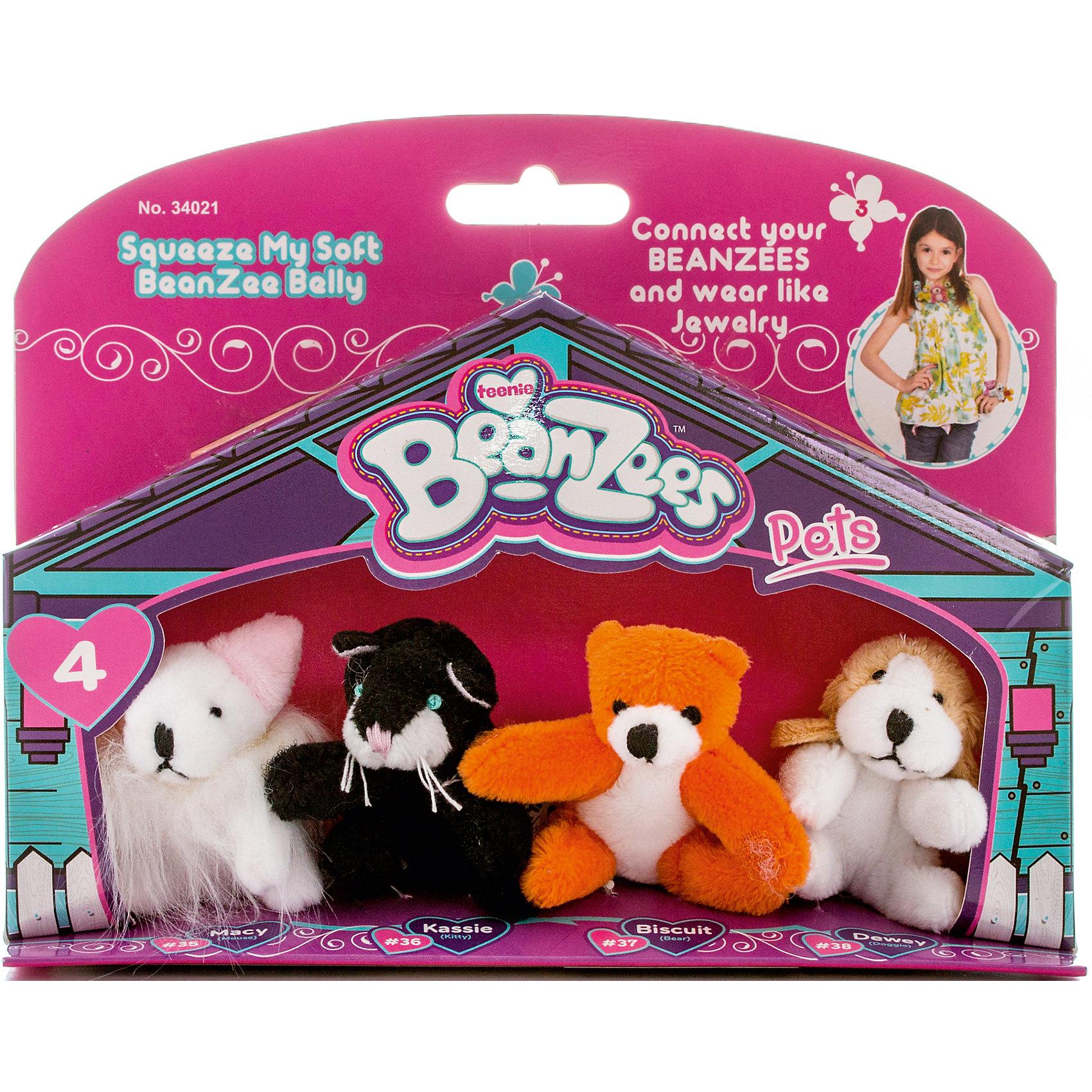 Мини-плюш в наборе Мышка, Котик, Медведь, Песик, BeanzeezЗвери и птицы<br>Характеристики товара:<br><br>- цвет: разноцветный;<br>- материал: текстиль;<br>- комплектация: 4 фигурки животных;<br>- особенности: наличие на лапках липучек, игрушку можно соединять с другими героями из серии;<br>- живот заполнен гранулами;<br>- размер упаковки: 5х15х19 см;<br>- упаковка: блистер;<br>- вес: 100 г.<br><br>Такая симпатичная игрушка не оставит ребенка равнодушным! Какой малыш откажется поиграть с маленькими плюшевыми игрушками из большой пушистой коллекции?! Игрушки очень качественно выполнены, поэтому такой набор станет отличным подарком ребенку. В наборе идет четыре плюшевых фигурки животных. С ними можно придумать множество сюжетов, разыгрывая которые, ребенок развивает мелкую моторику, воображение и творческое мышление.<br>Изделие произведено из высококачественного материала, безопасного для детей.<br><br>Мини-плюш в наборе Мышка, Котик, Медведь, Песик от бренда Beanzeez можно купить в нашем интернет-магазине.<br><br>Ширина мм: 50<br>Глубина мм: 150<br>Высота мм: 190<br>Вес г: 93<br>Возраст от месяцев: 36<br>Возраст до месяцев: 2147483647<br>Пол: Женский<br>Возраст: Детский<br>SKU: 5039896
