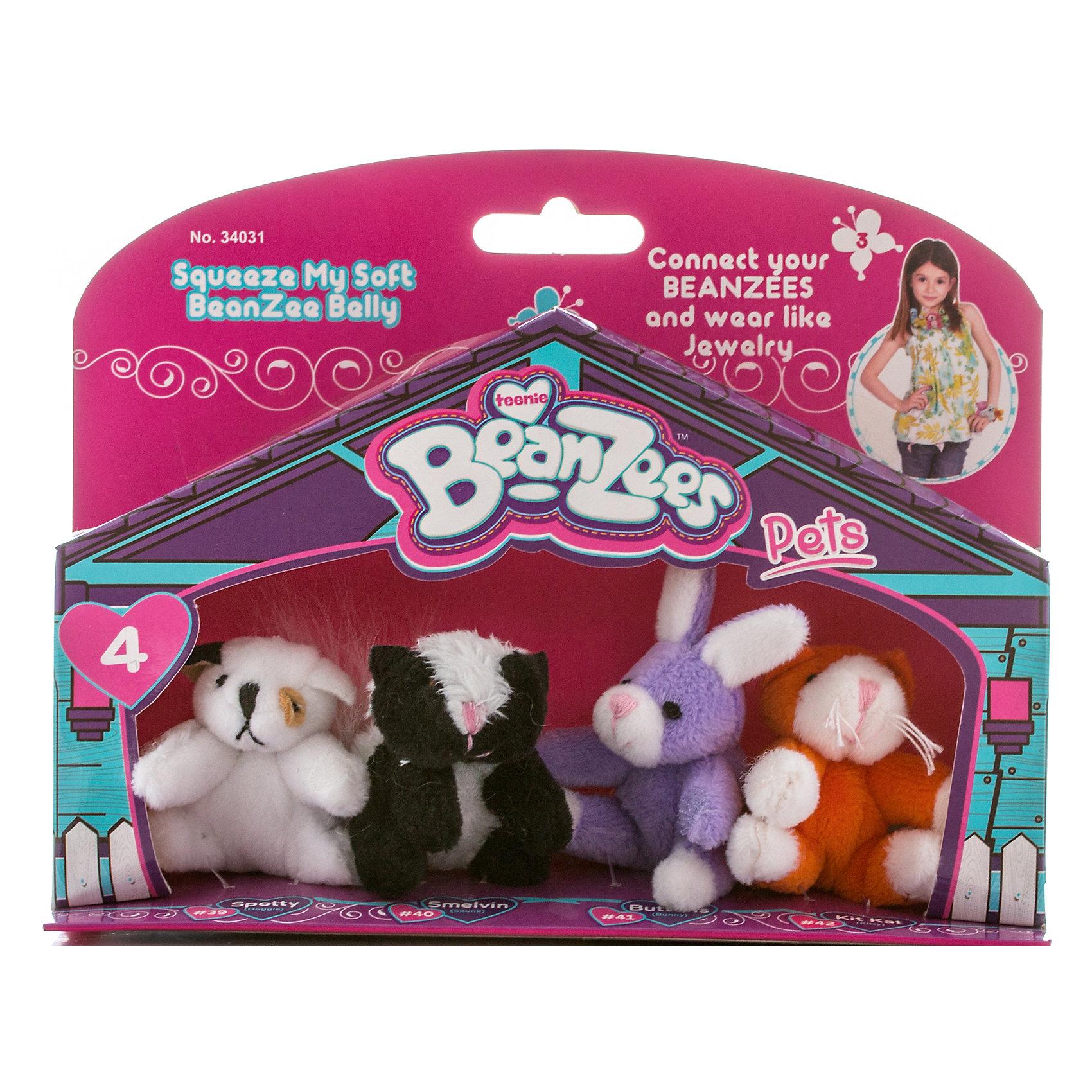 Мини-плюш в наборе Песик, Скунс, Кролик, Котик, BeanzeezЗвери и птицы<br>Характеристики товара:<br><br>- цвет: разноцветный;<br>- материал: текстиль;<br>- комплектация: 4 фигурки животных;<br>- особенности: наличие на лапках липучек, игрушку можно соединять с другими героями из серии;<br>- живот заполнен гранулами;<br>- размер упаковки: 5х15х19 см;<br>- упаковка: блистер;<br>- вес: 100 г.<br><br>Такая симпатичная игрушка не оставит ребенка равнодушным! Какой малыш откажется поиграть с маленькими плюшевыми игрушками из большой пушистой коллекции?! Игрушки очень качественно выполнены, поэтому такой набор станет отличным подарком ребенку. В наборе идет четыре плюшевых фигурки животных. С ними можно придумать множество сюжетов, разыгрывая которые, ребенок развивает мелкую моторику, воображение и творческое мышление.<br>Изделие произведено из высококачественного материала, безопасного для детей.<br><br>Мини-плюш в наборе Песик, Скунс, Кролик, Котик от бренда Beanzeez можно купить в нашем интернет-магазине.<br><br>Ширина мм: 50<br>Глубина мм: 150<br>Высота мм: 190<br>Вес г: 93<br>Возраст от месяцев: 36<br>Возраст до месяцев: 2147483647<br>Пол: Женский<br>Возраст: Детский<br>SKU: 5039897